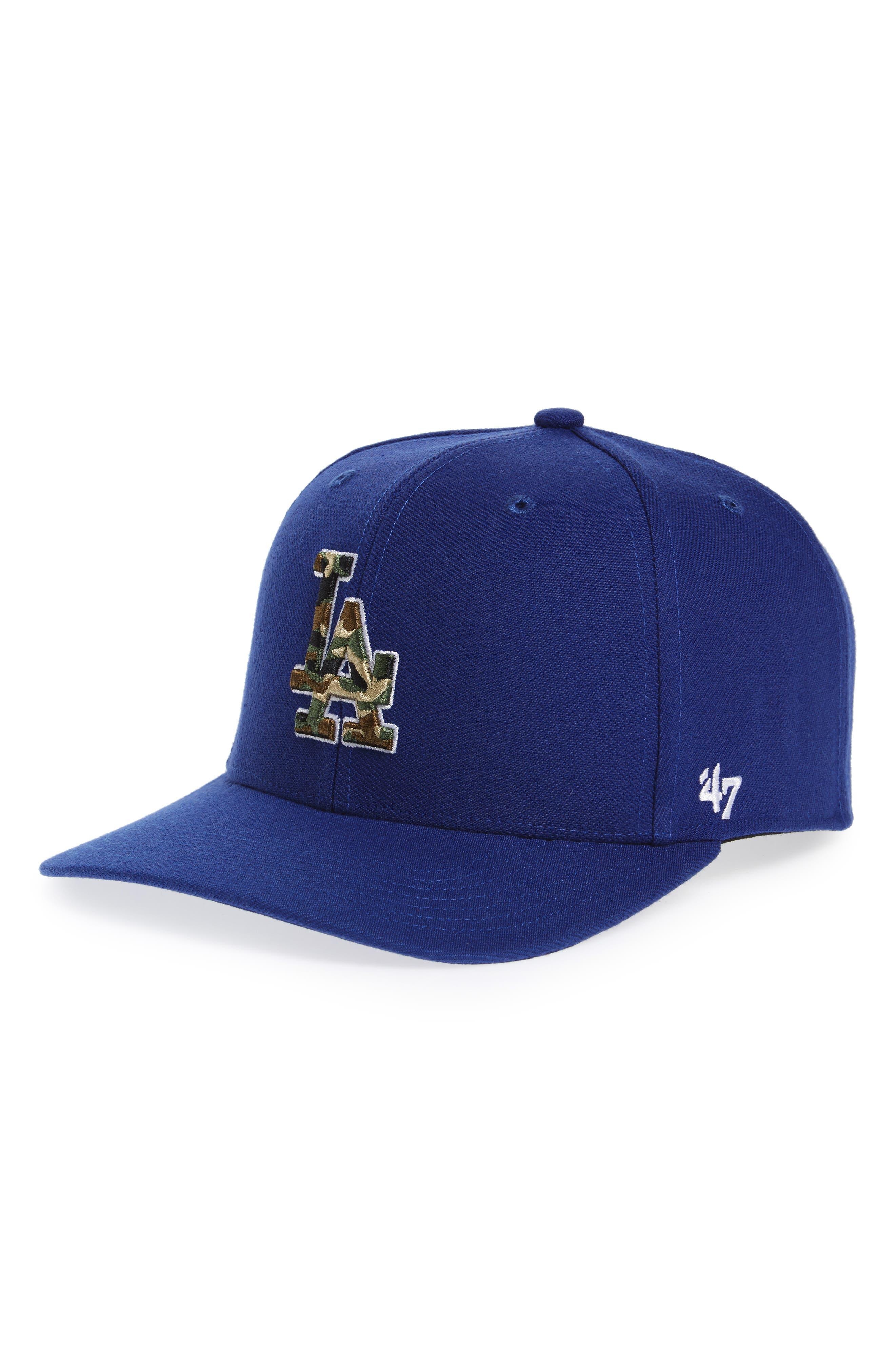 Los Angeles Dodgers - Camouflage Baseball Cap,                             Main thumbnail 1, color,                             Royal