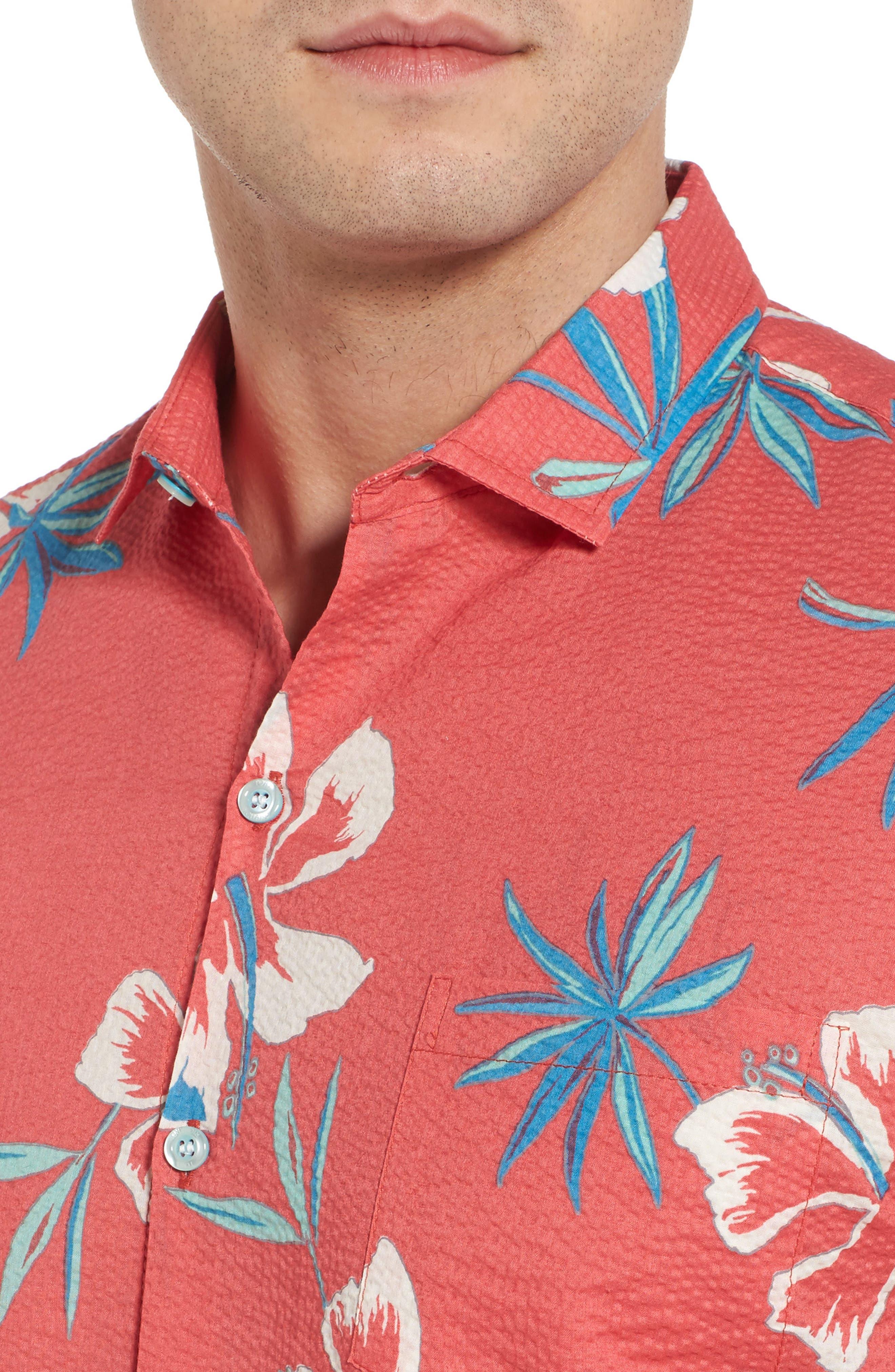 So Fresh Trim Fit Cotton Lawn Sport Shirt,                             Alternate thumbnail 4, color,                             Guava