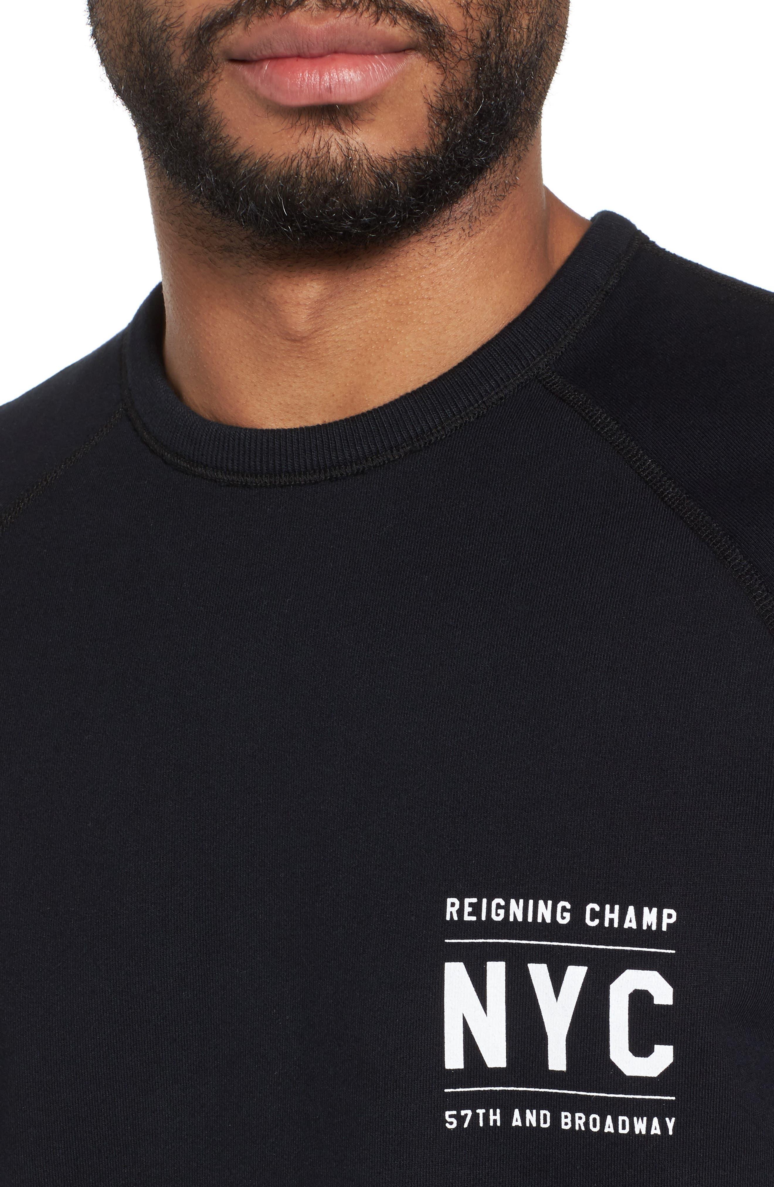 Cutoff Short Sleeve Sweatshirt,                             Alternate thumbnail 4, color,                             Black
