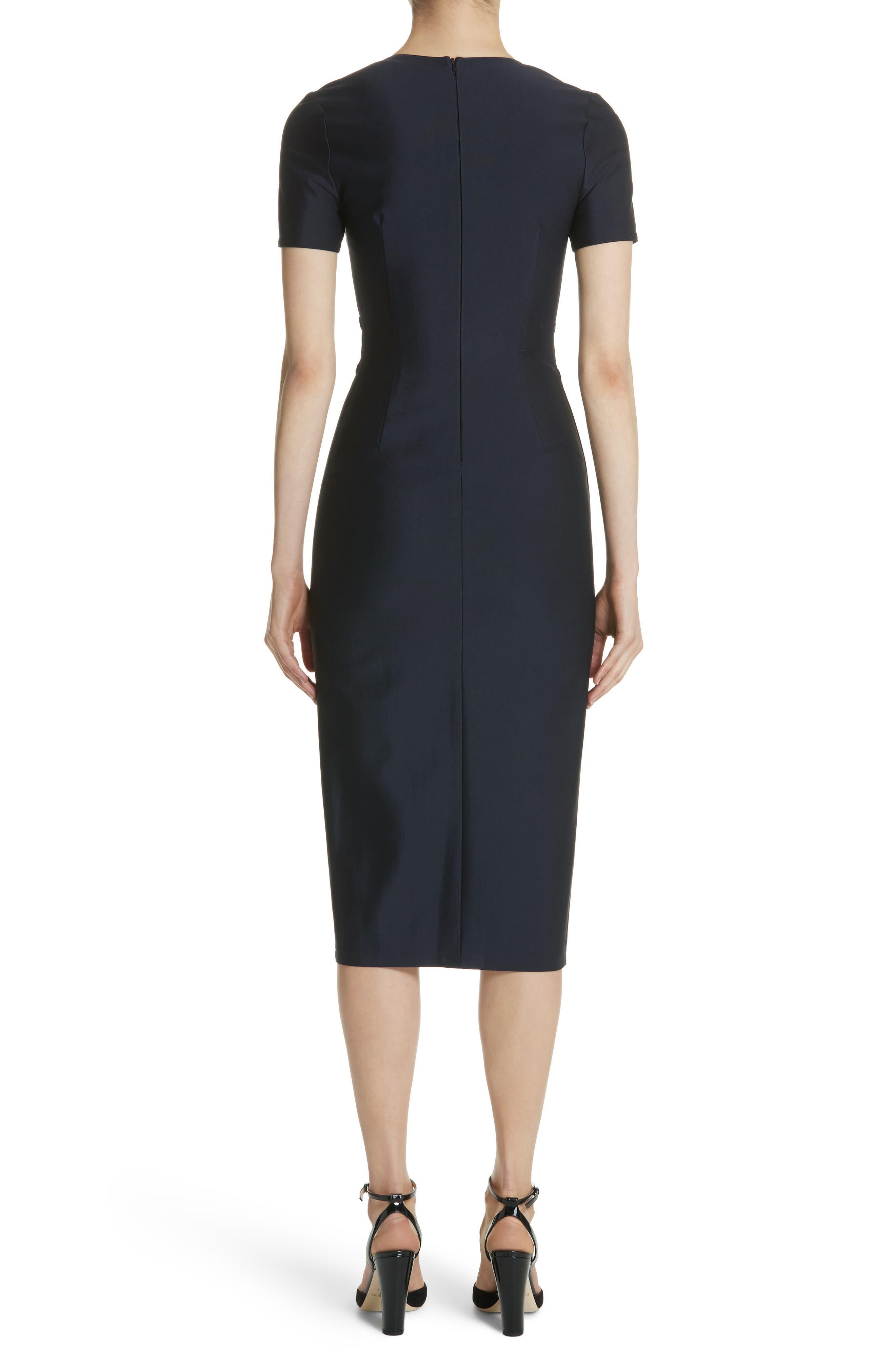 Belt Waist Sheath Dress,                             Alternate thumbnail 2, color,                             Navy Blue