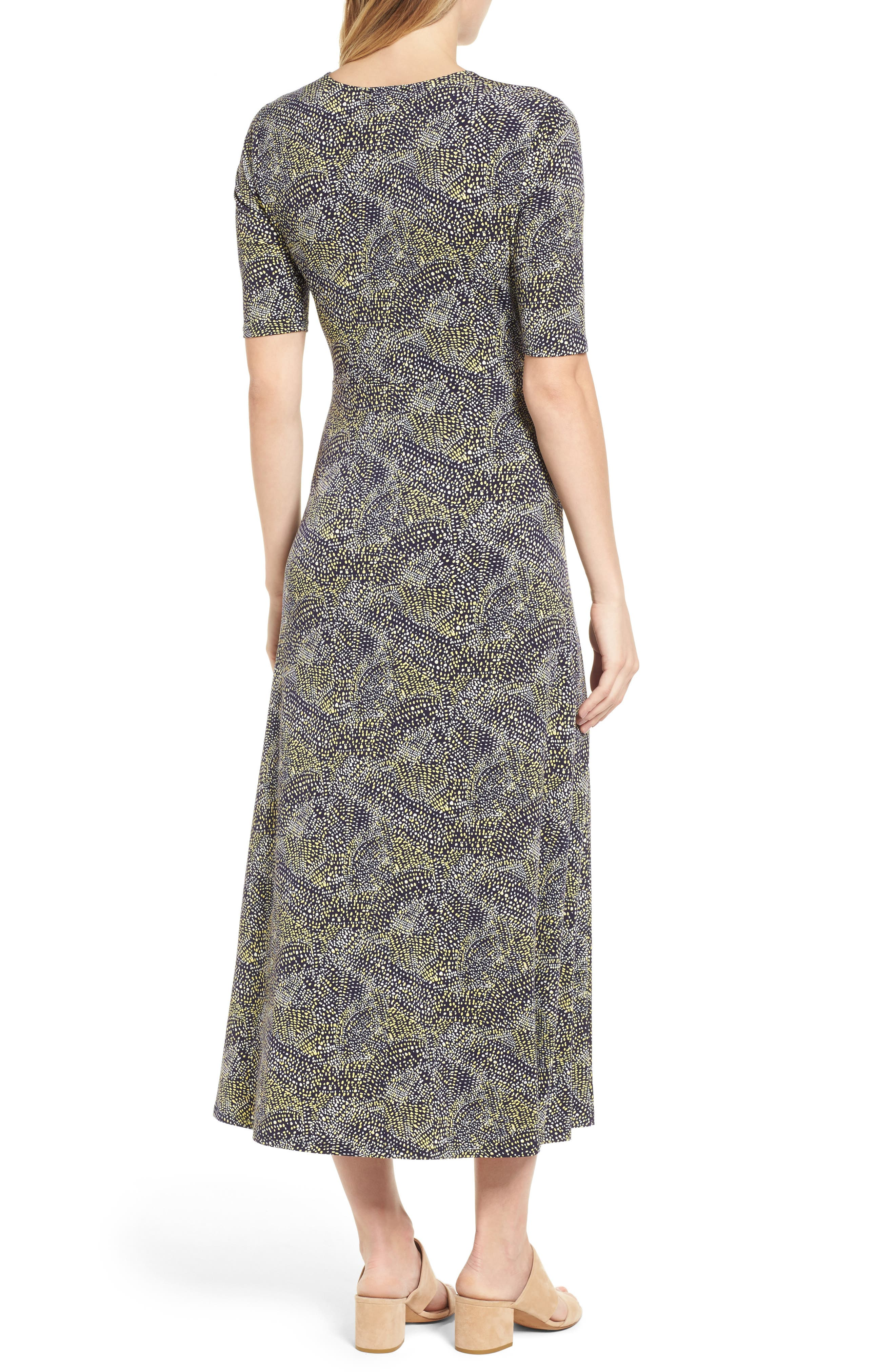 Ruched Speckle Midi Dress,                             Alternate thumbnail 2, color,                             784-Vivid Canary