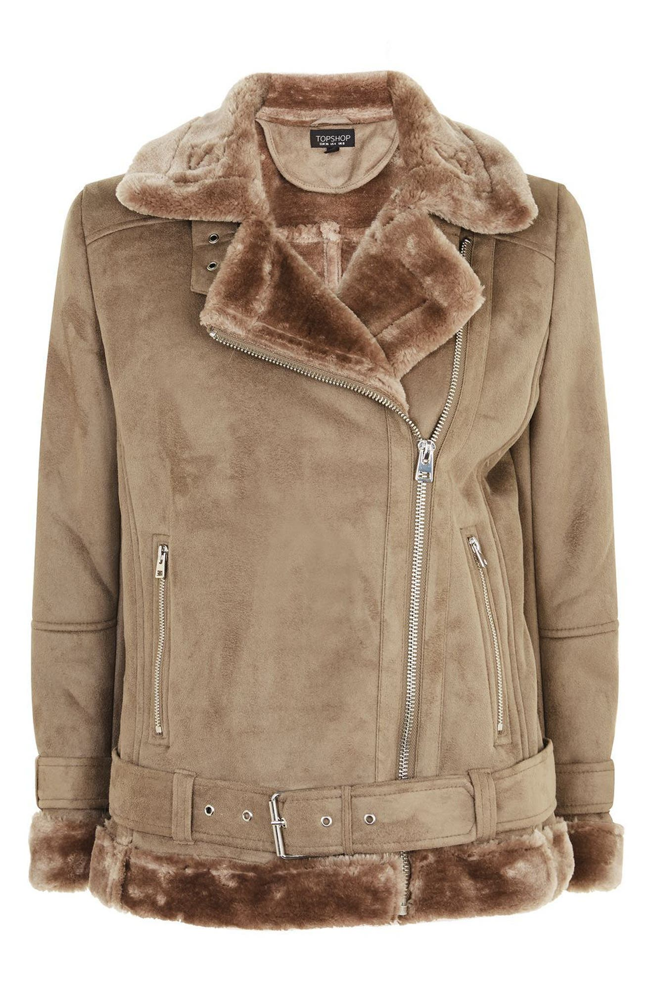 Alternate Image 5  - Topshop Faux Shearling Biker Jacket