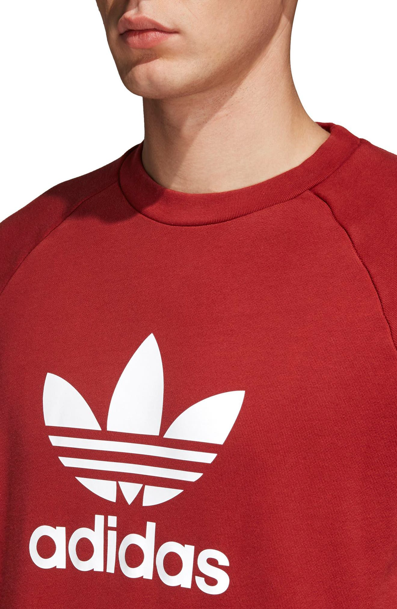 adidas Trefoil Crewneck Sweatshirt,                             Alternate thumbnail 3, color,                             Rusred