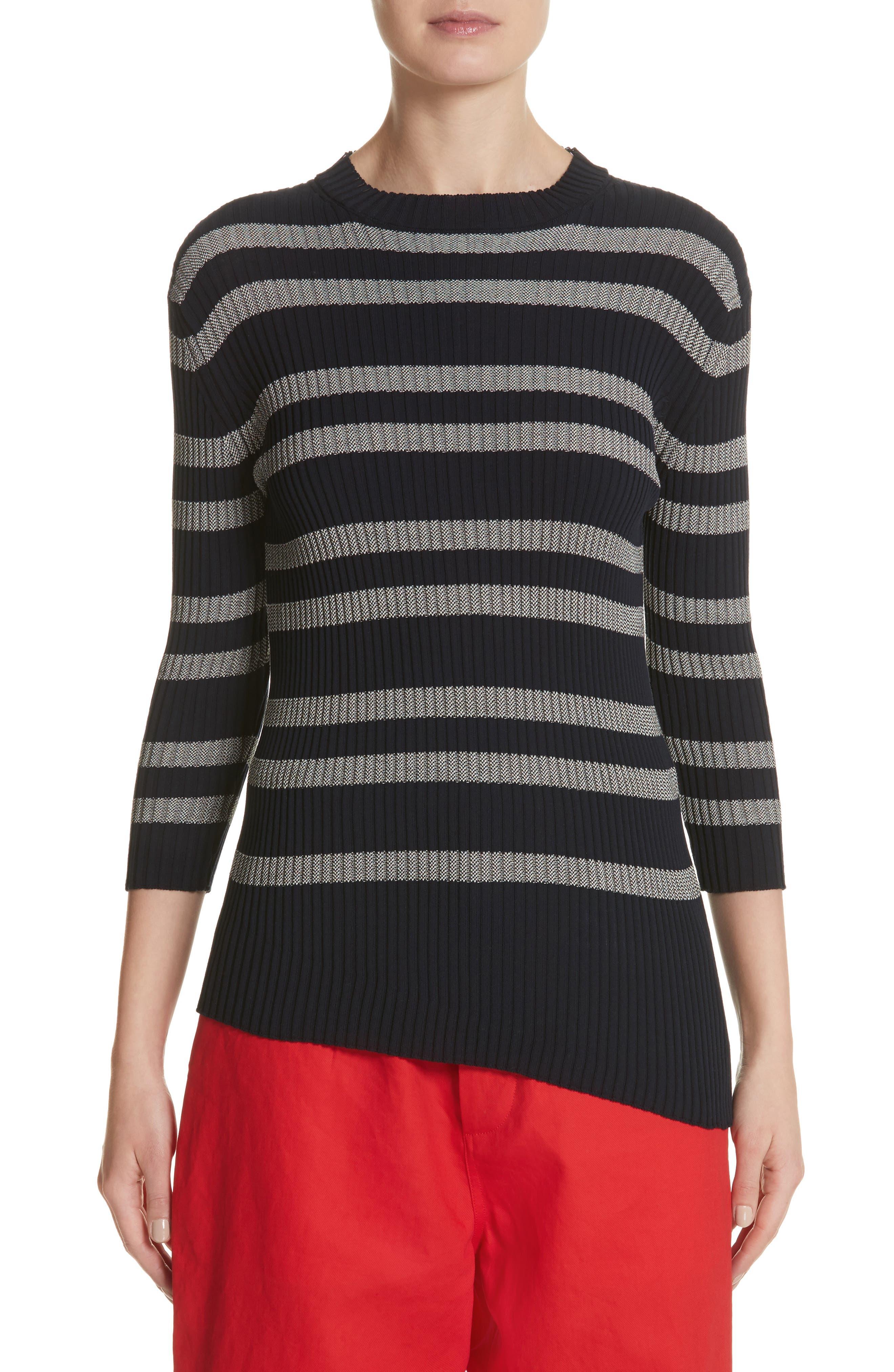 Sofie D'Hoore Slant Hem Stripe Sweater