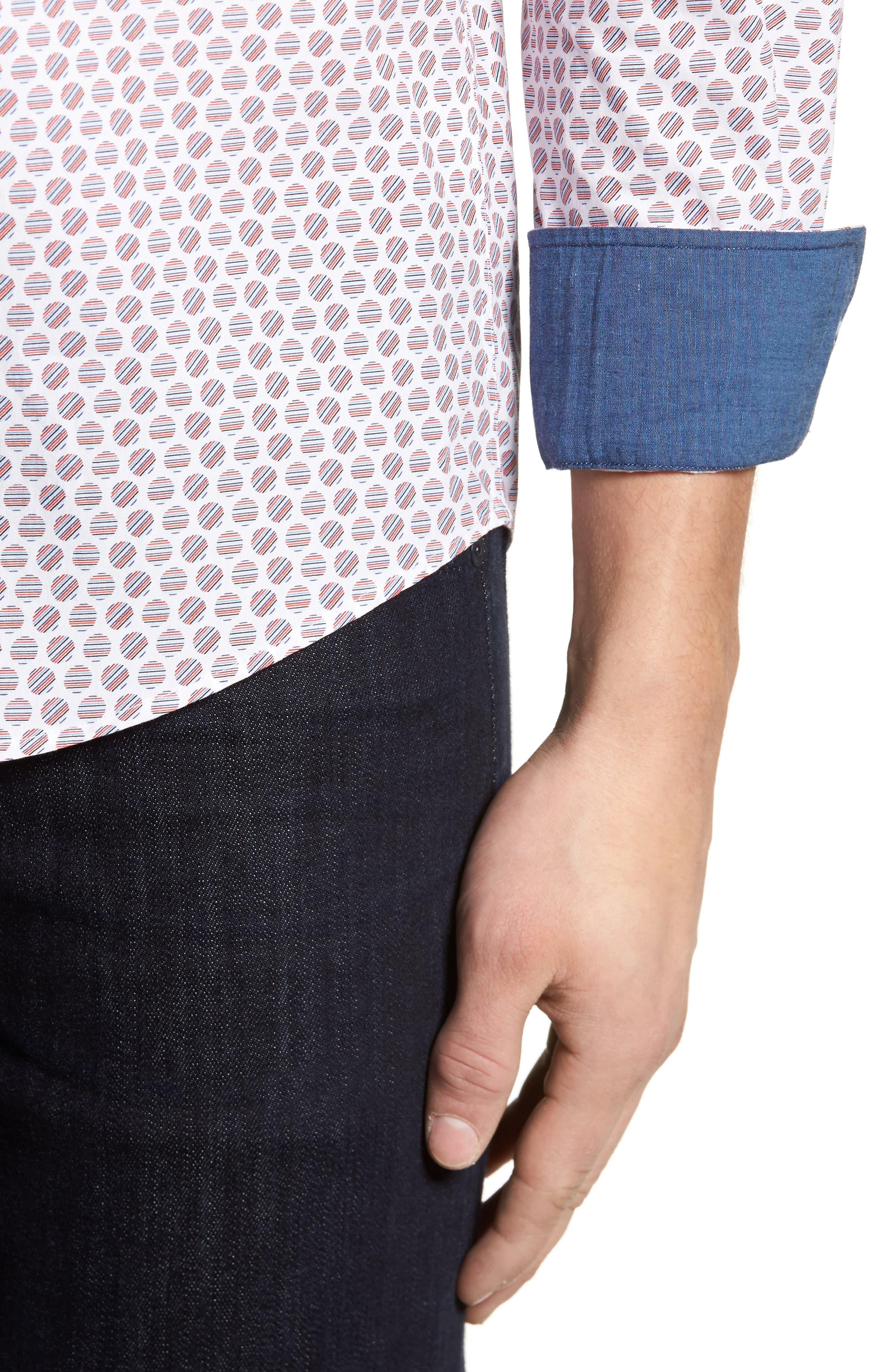 Slim Fit Circle Print Sport Shirt,                             Alternate thumbnail 4, color,                             Pimento