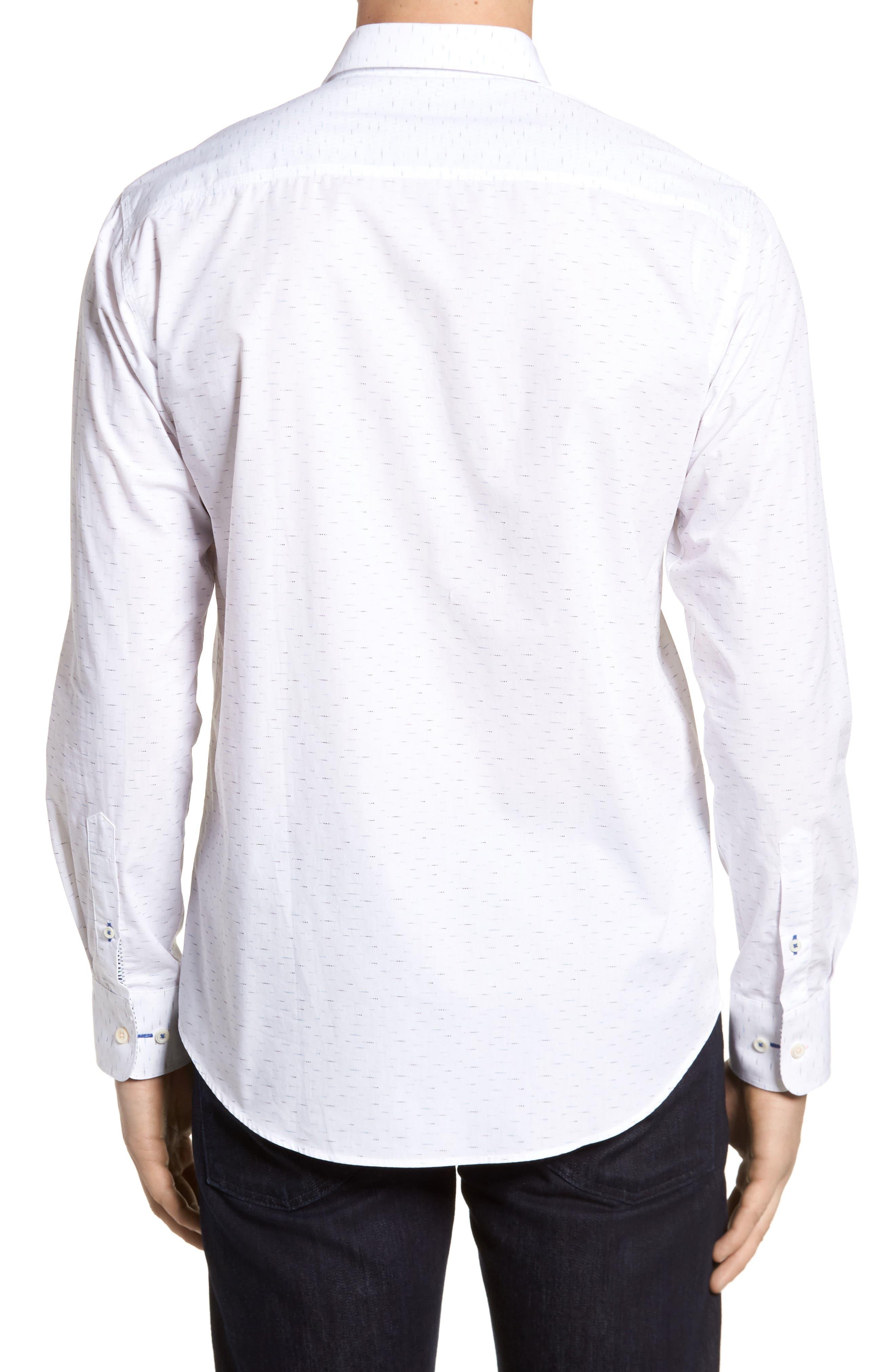 Dots Etc. Shaped Fit Sport Shirt,                             Alternate thumbnail 2, color,                             Chalk
