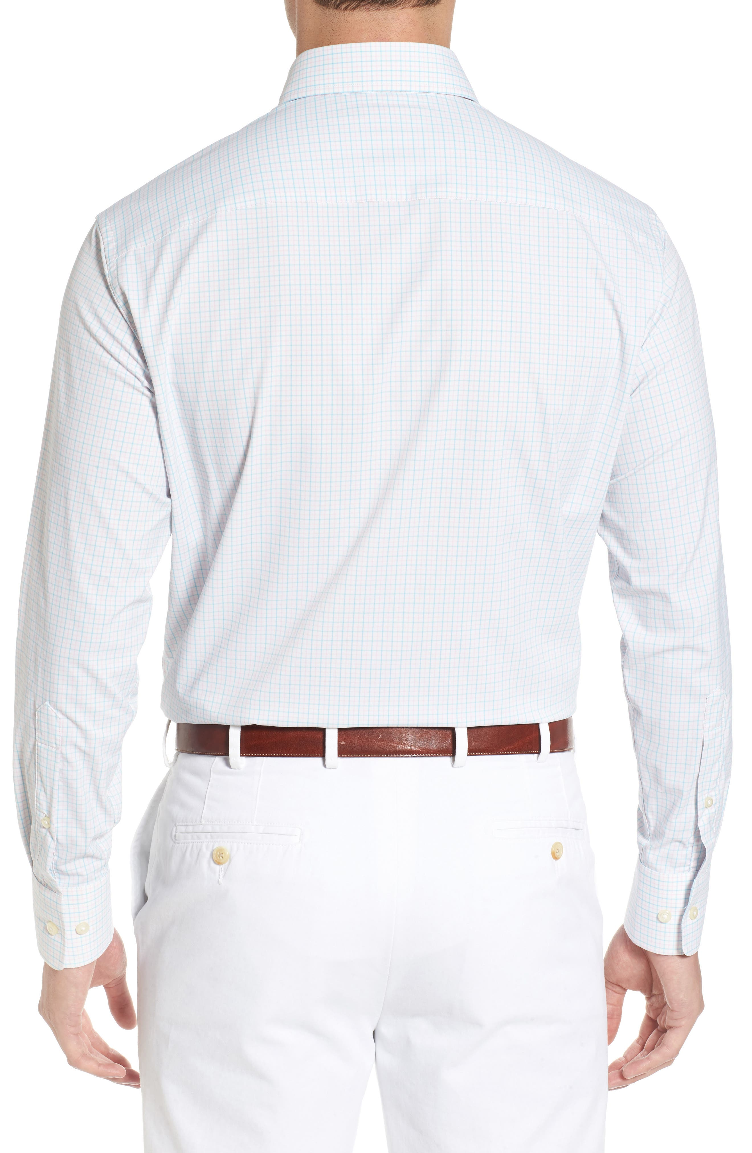 Waldorf Regular Fit Tattersall Performance Sport Shirt,                             Alternate thumbnail 3, color,                             White/ Piglet Pink