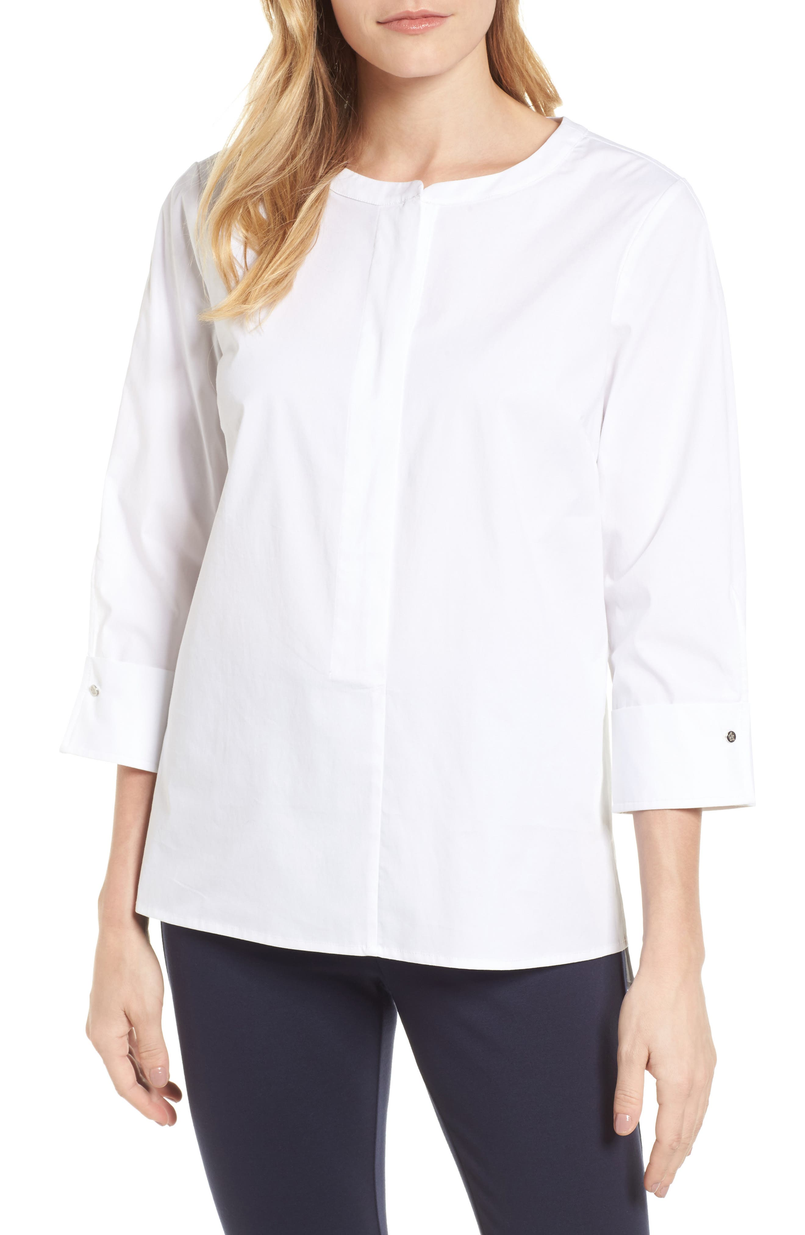 Poplin Blouse,                         Main,                         color, 145-Ultra White