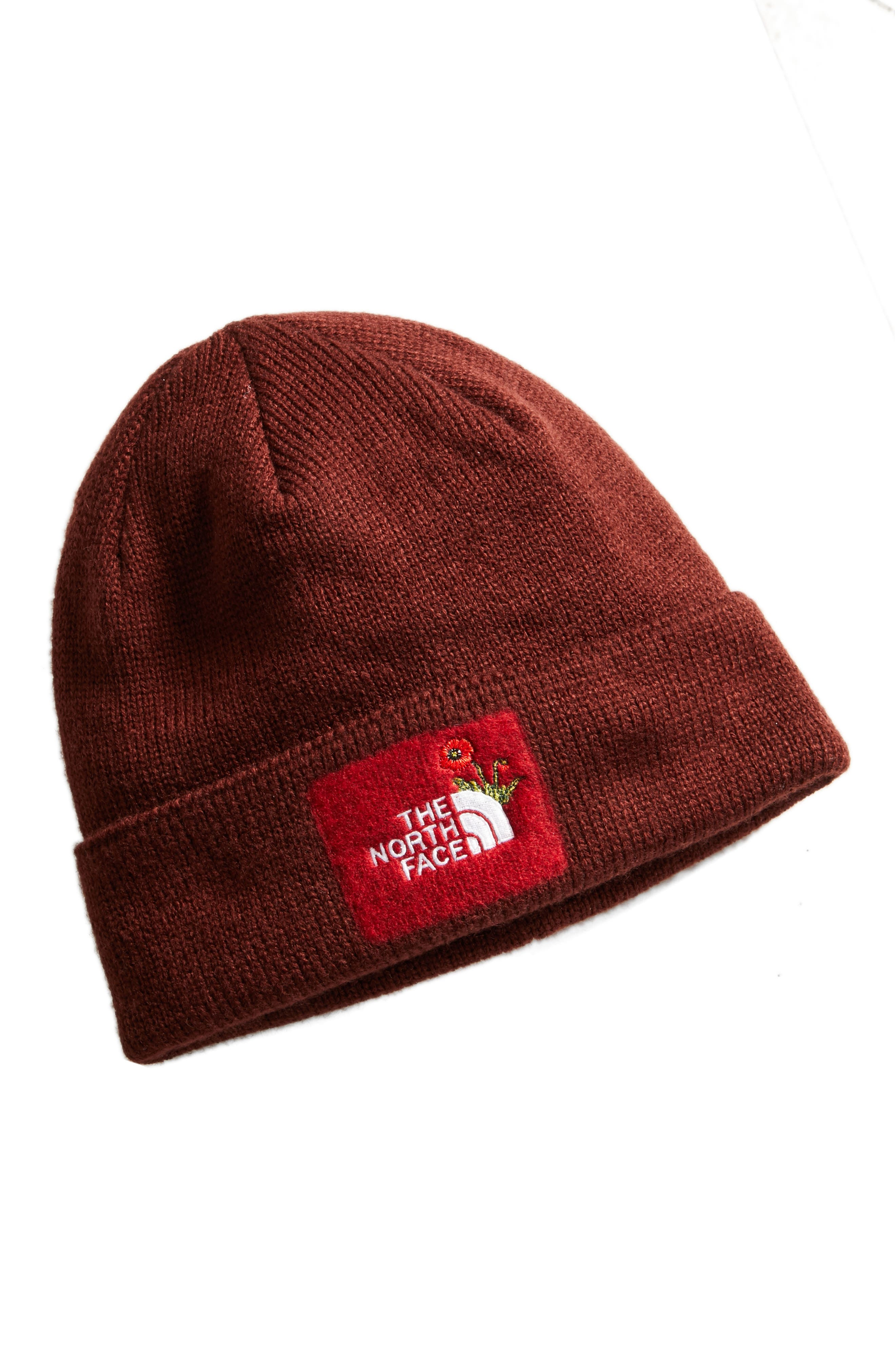 Felted Logo Beanie,                         Main,                         color, Sequoia Red