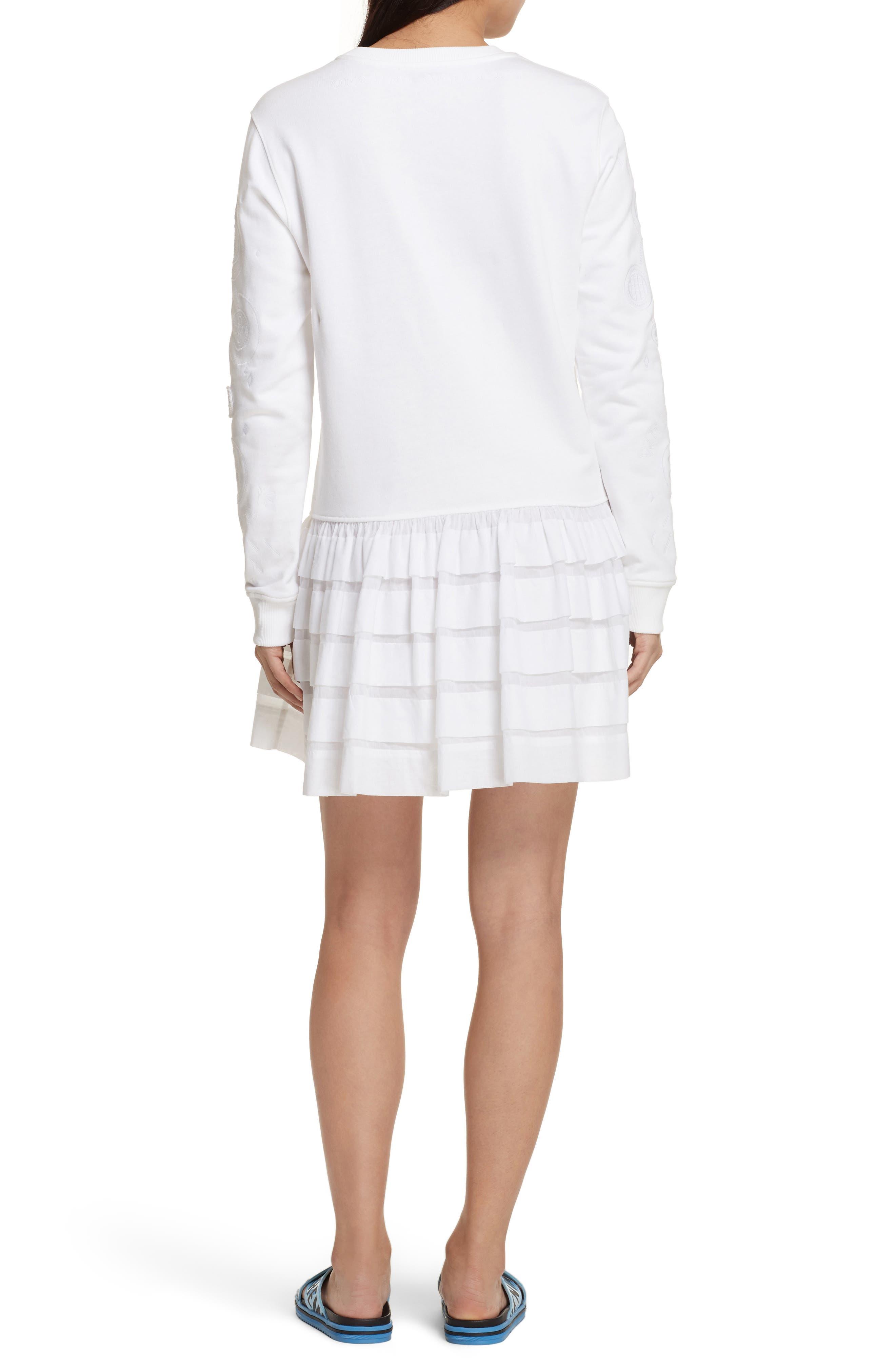Embroidered Ruffle Hem Dress,                             Alternate thumbnail 2, color,                             White