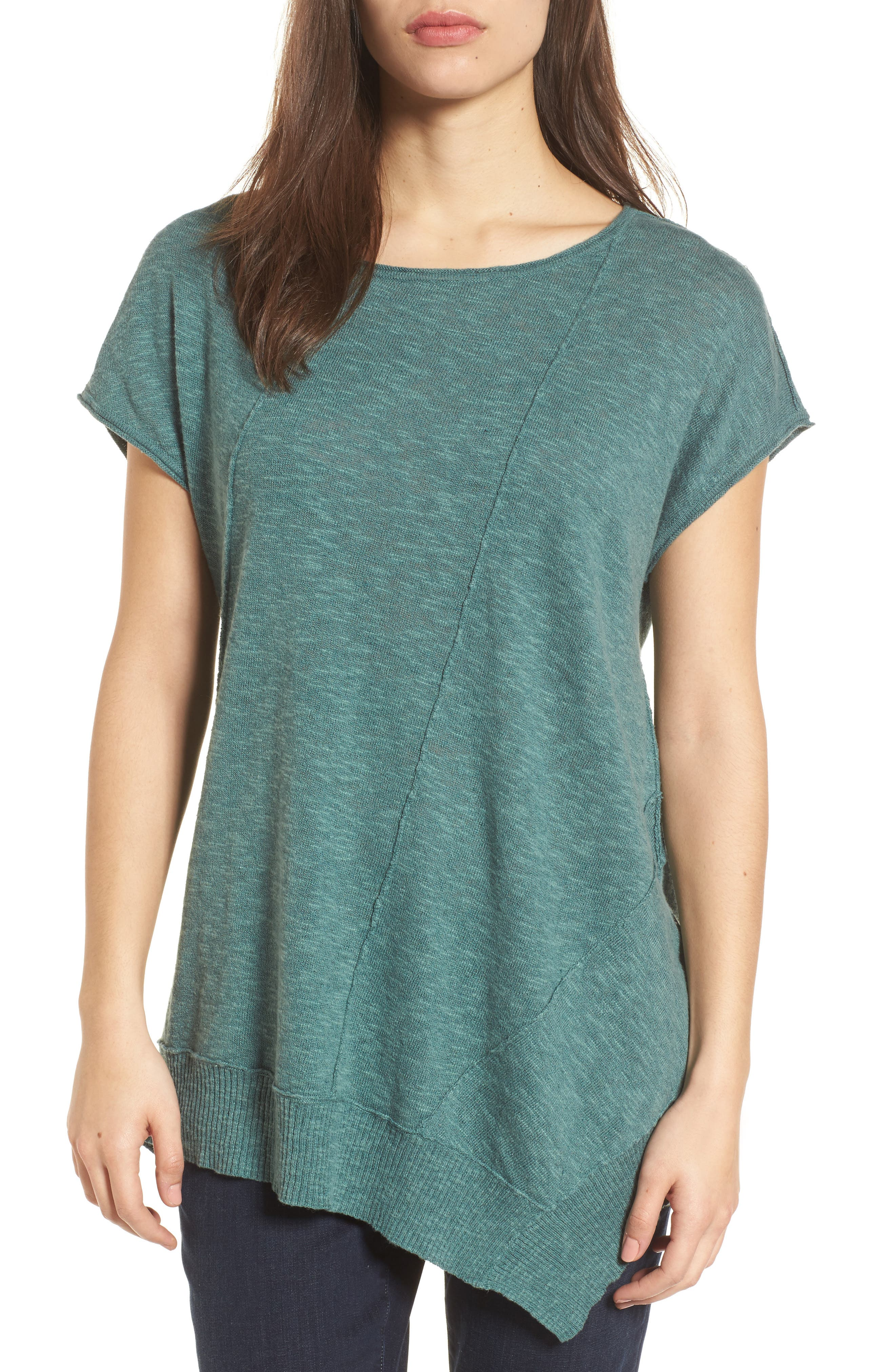 Cap Sleeve Organic Linen & Cotton Scoop Neck Top,                             Main thumbnail 1, color,                             Teal