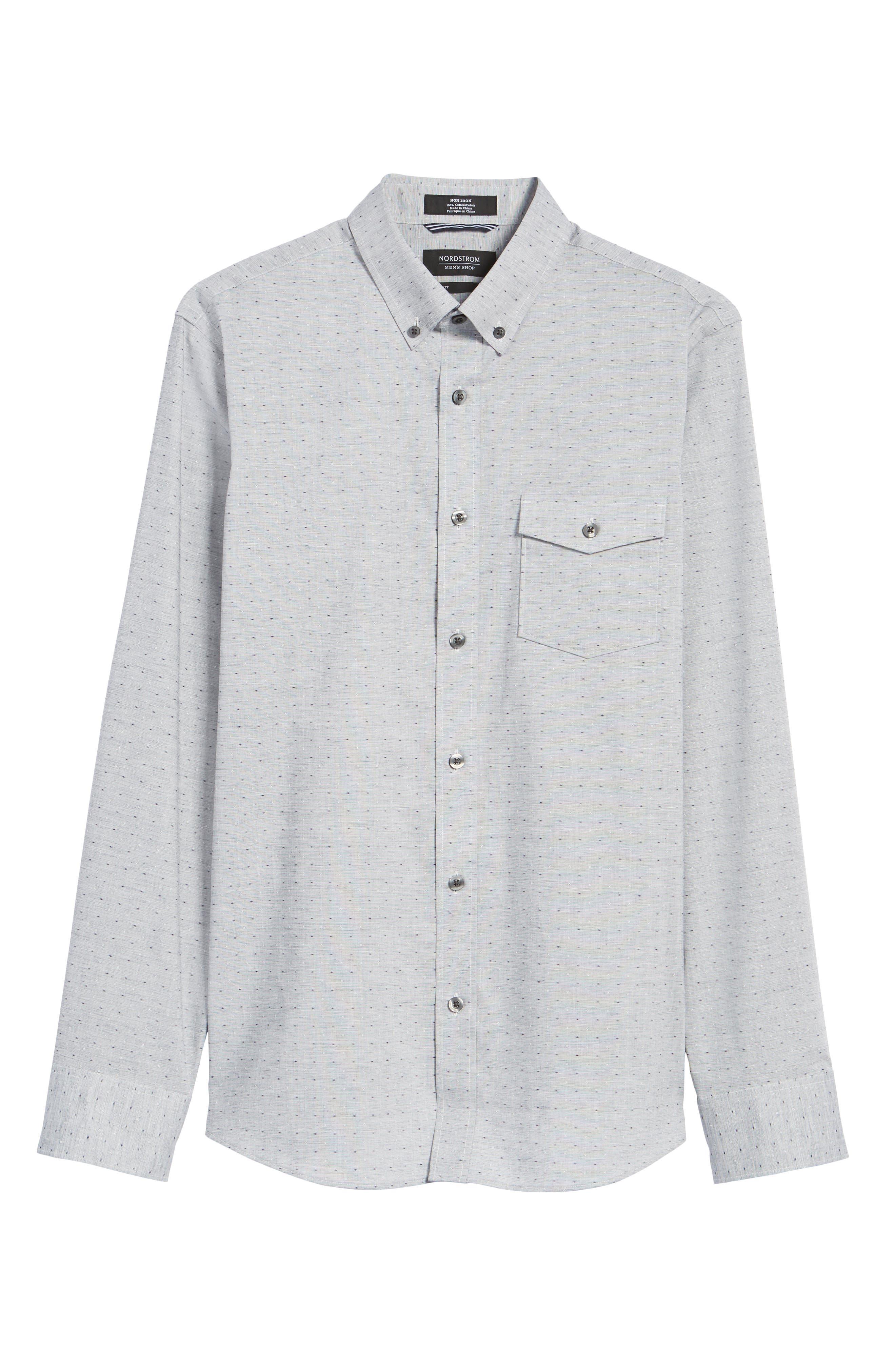 Trim Fit Dobby Sport Shirt,                             Alternate thumbnail 6, color,                             Navy White Eoe Dobby