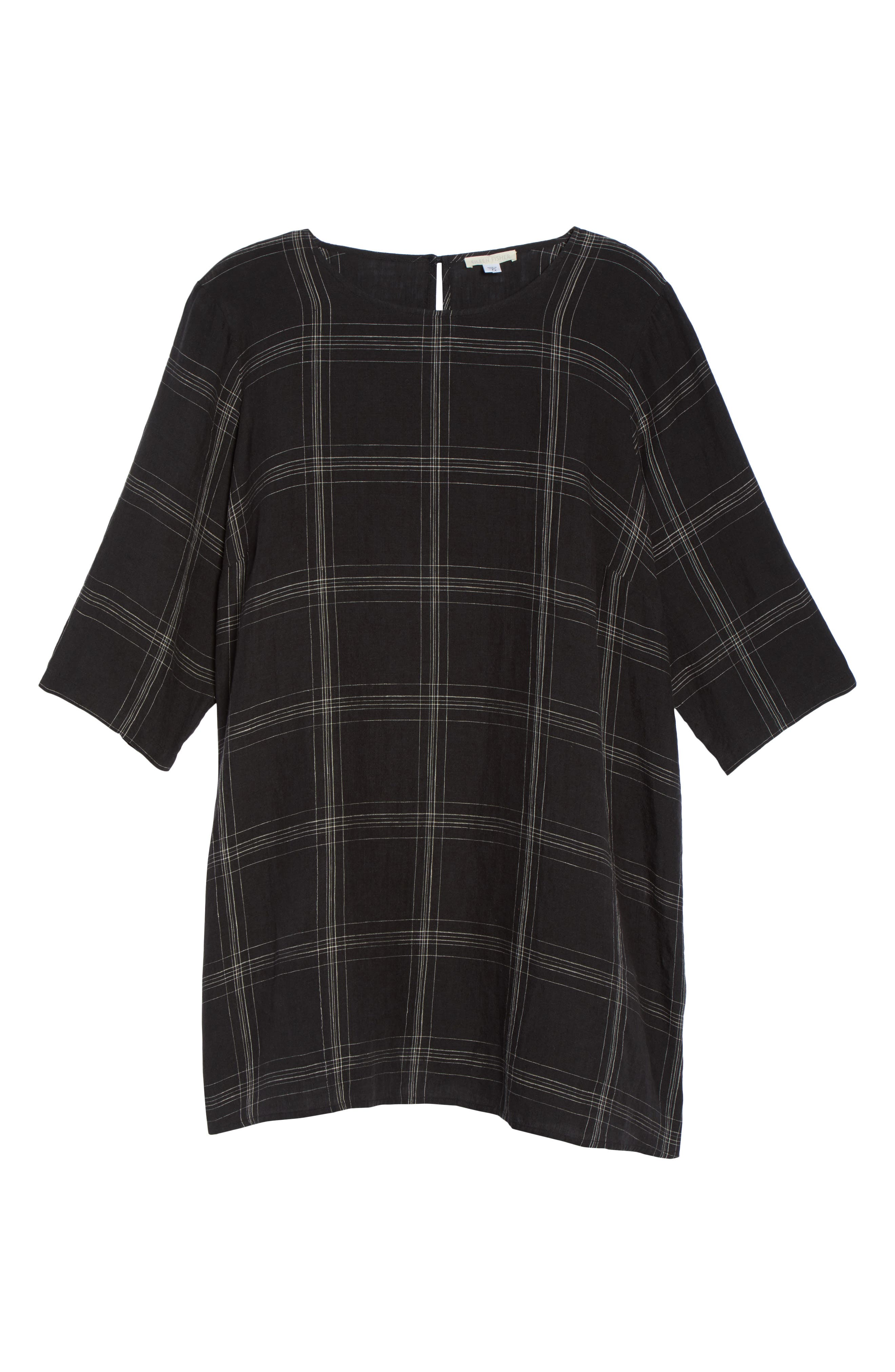Plaid Organic Linen Tunic,                             Alternate thumbnail 6, color,                             Black