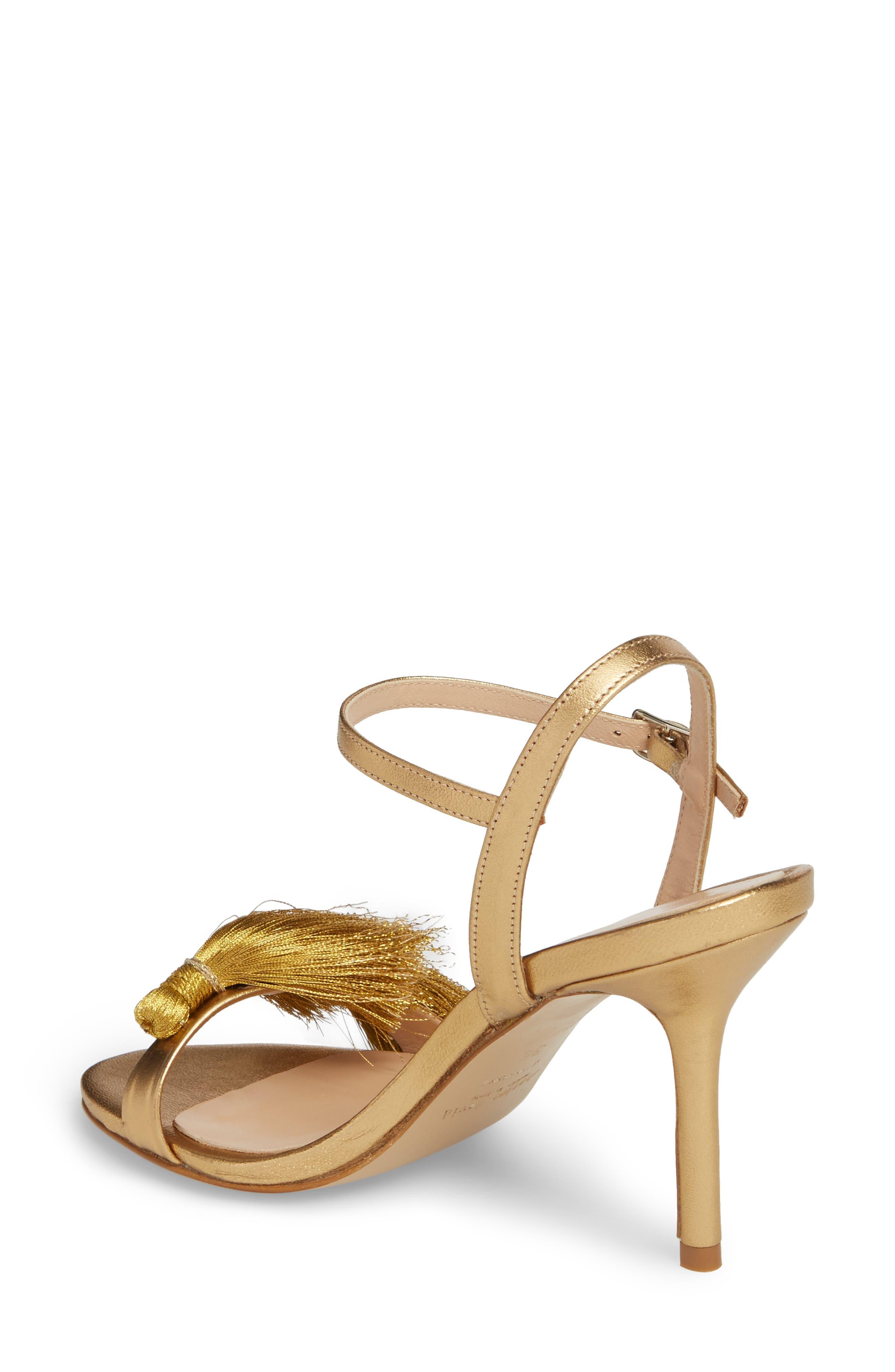 Sassy Tassel Sandal,                             Alternate thumbnail 2, color,                             Gold Leather
