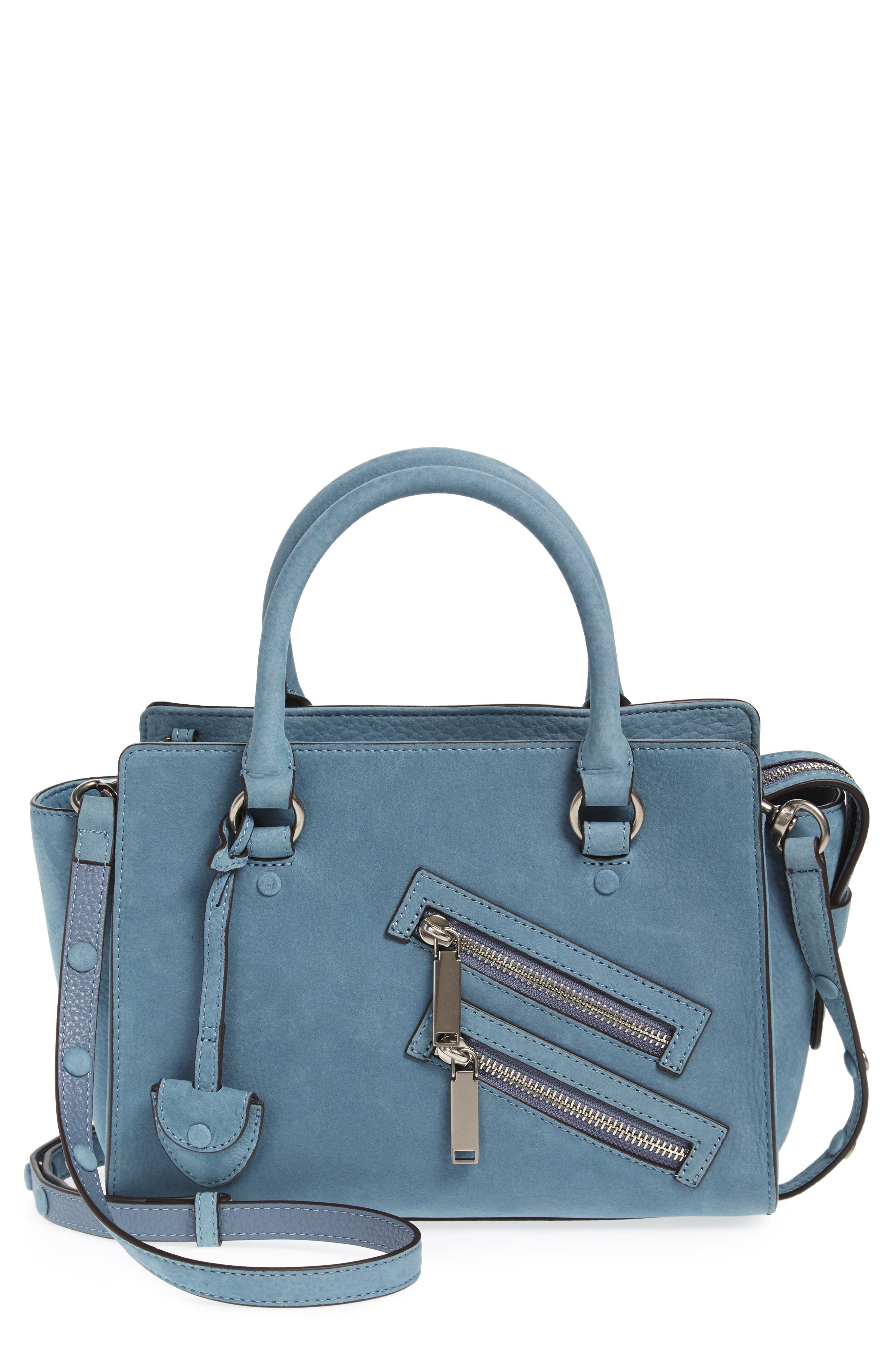 Small Jamie Leather Satchel,                         Main,                         color, Dusty Blue
