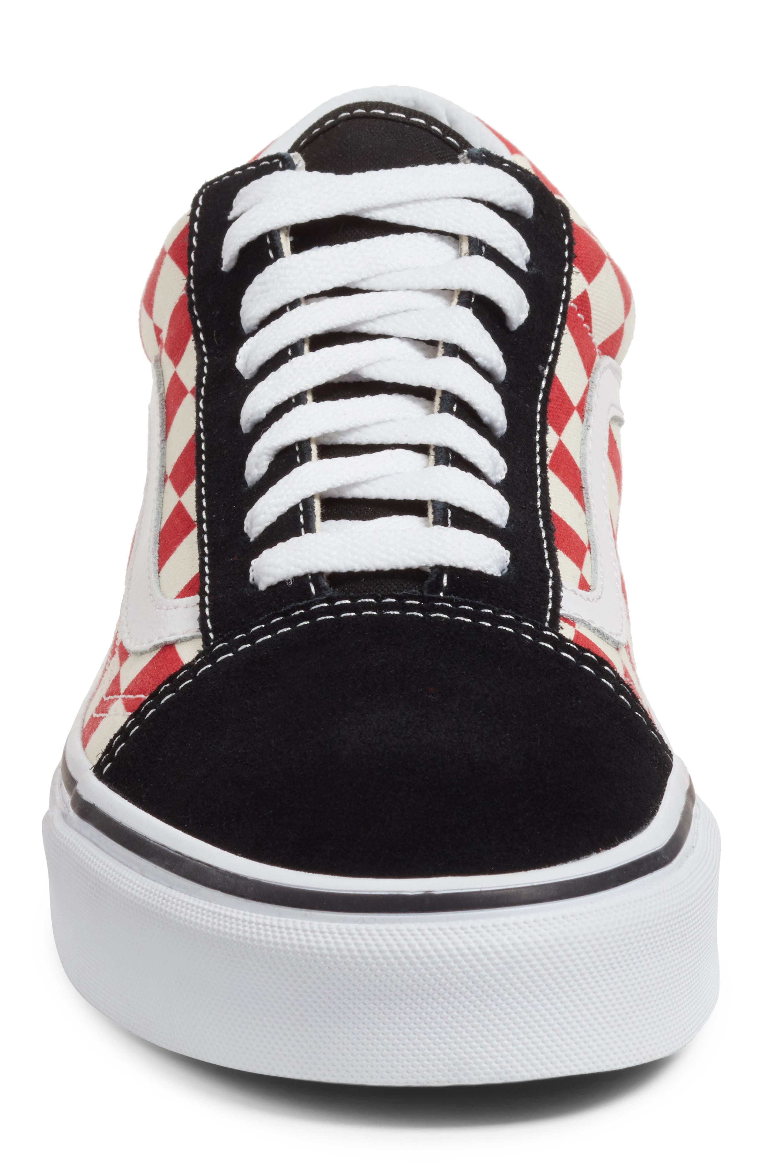 Old Skool Sneaker,                             Alternate thumbnail 4, color,                             Black/ Red Checkerboard