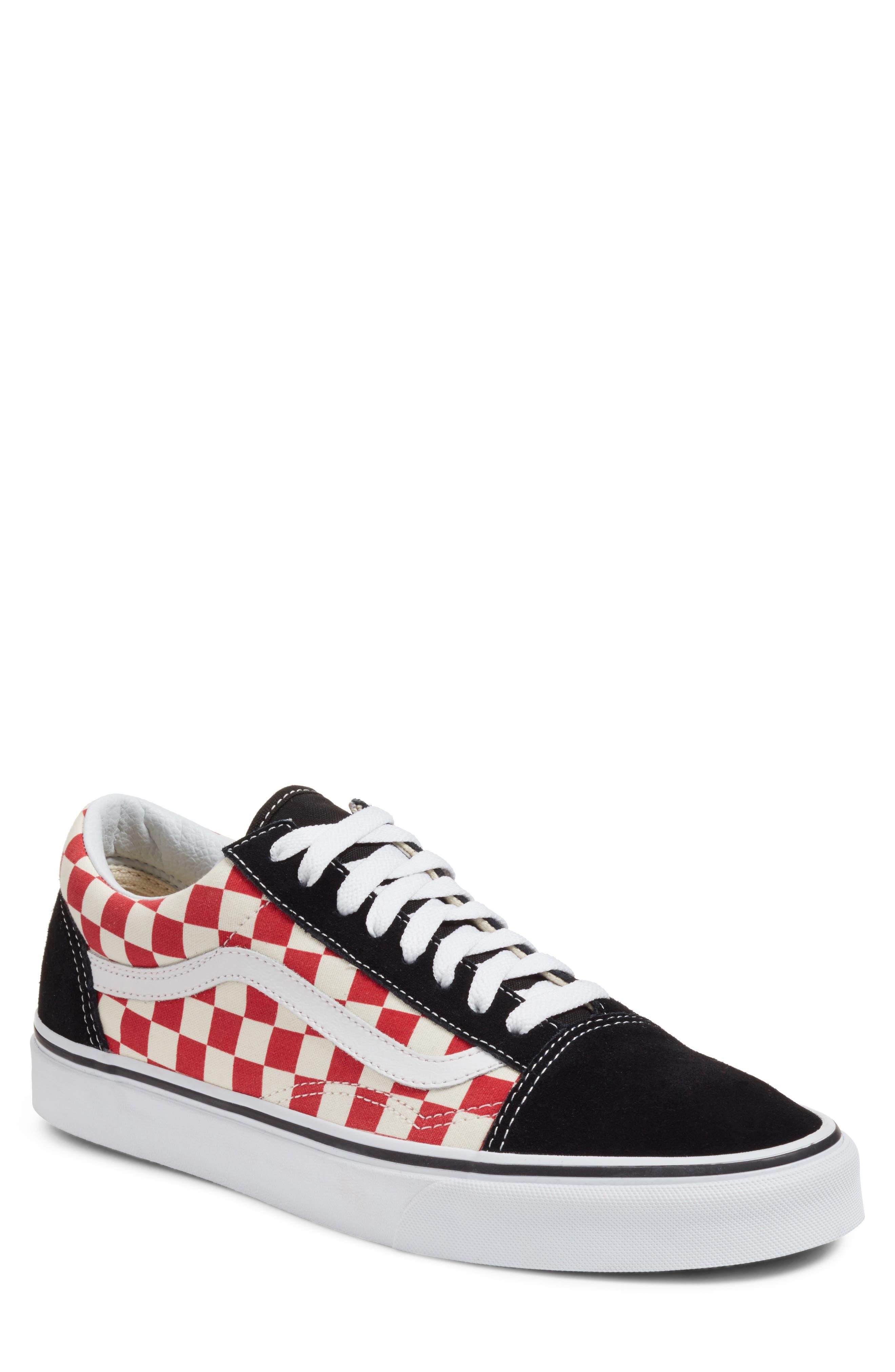 Old Skool Sneaker,                             Main thumbnail 1, color,                             Black/ Red Checkerboard