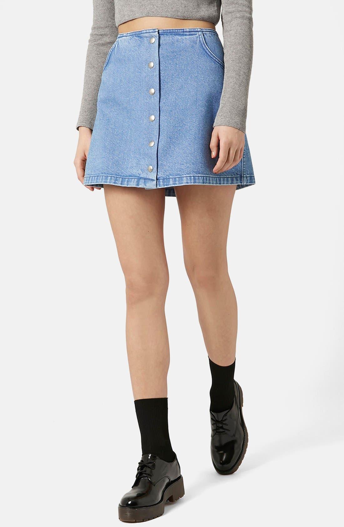 Alternate Image 1 Selected - Topshop Moto Snap Front Denim Skirt (Brit Pop-In)