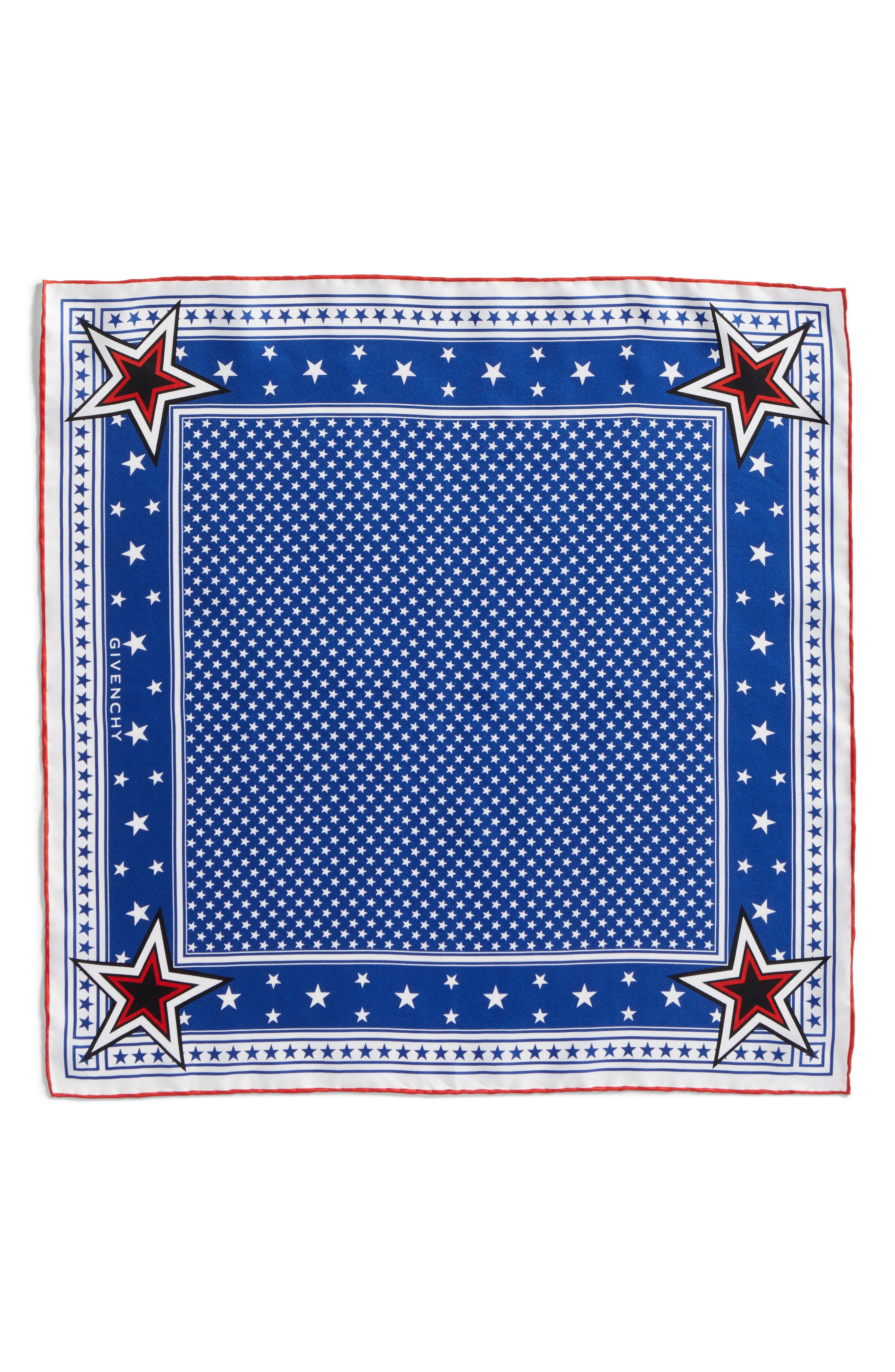 Star Silk Twill Square Scarf,                             Main thumbnail 1, color,                             Blue/ Red