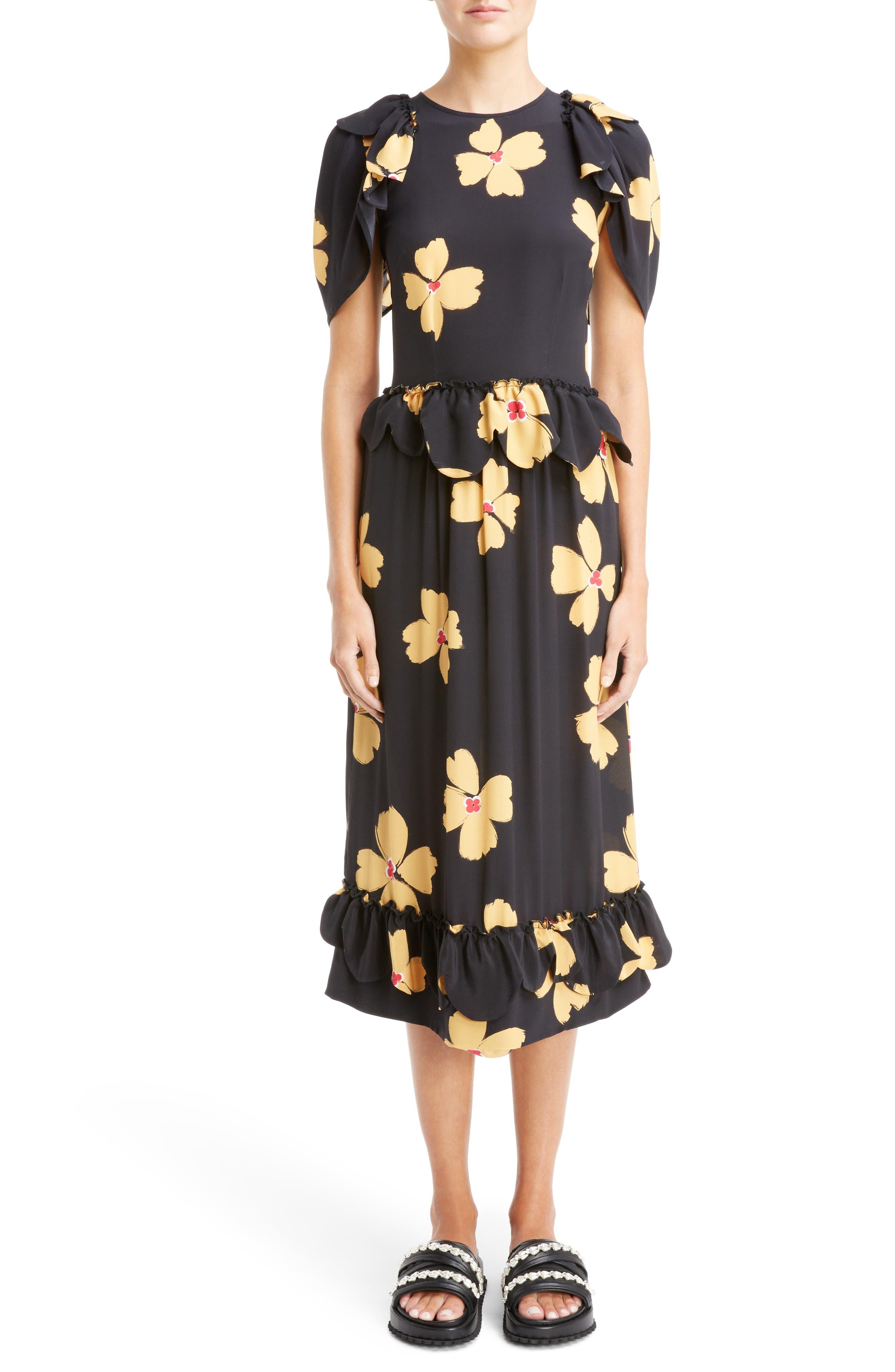 Scallop Trim Floral Silk Dress,                         Main,                         color, Black Clementine