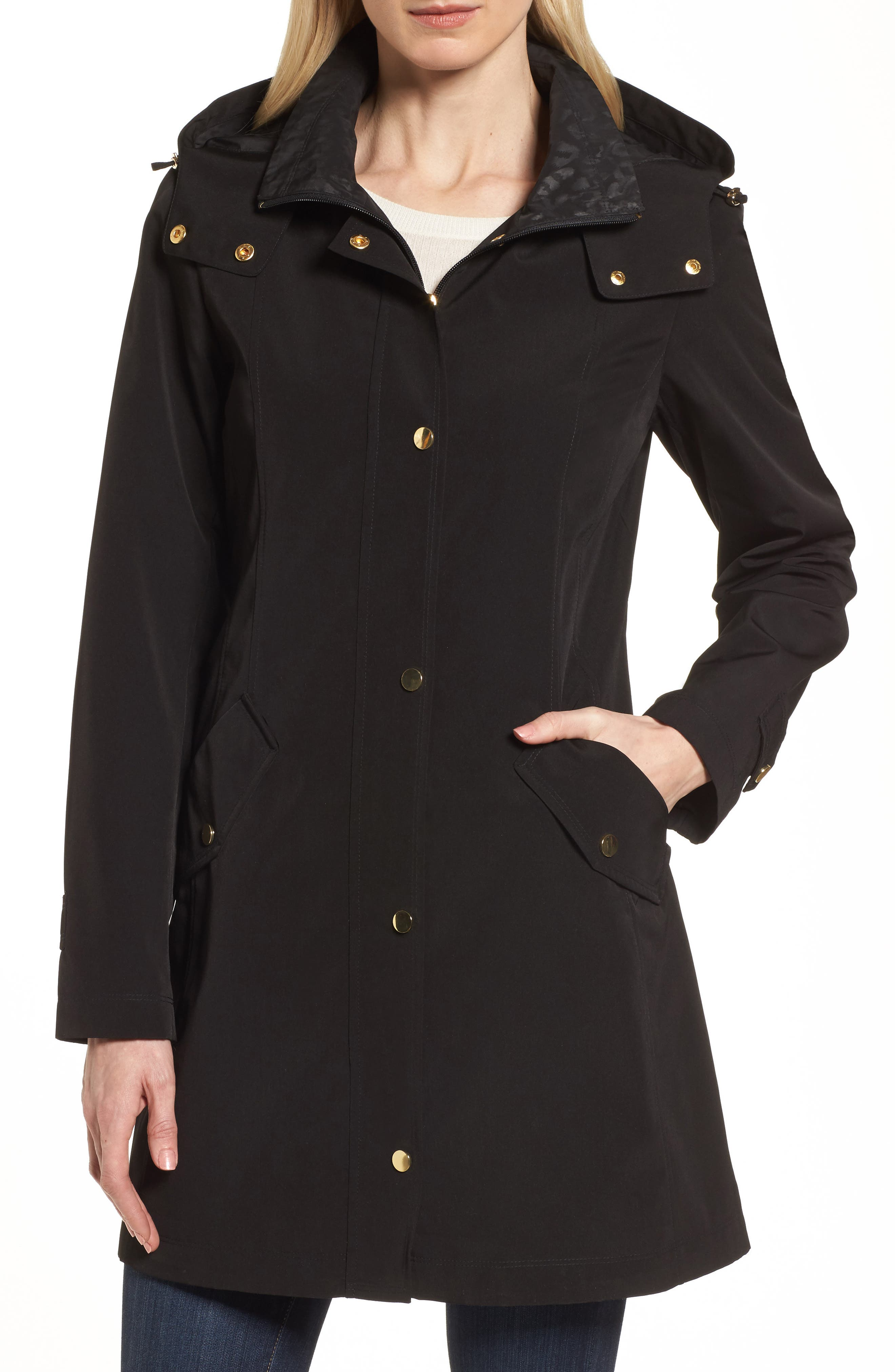 Main Image - Gallery Swing Raincoat with Leopard Print Trim (Petite)