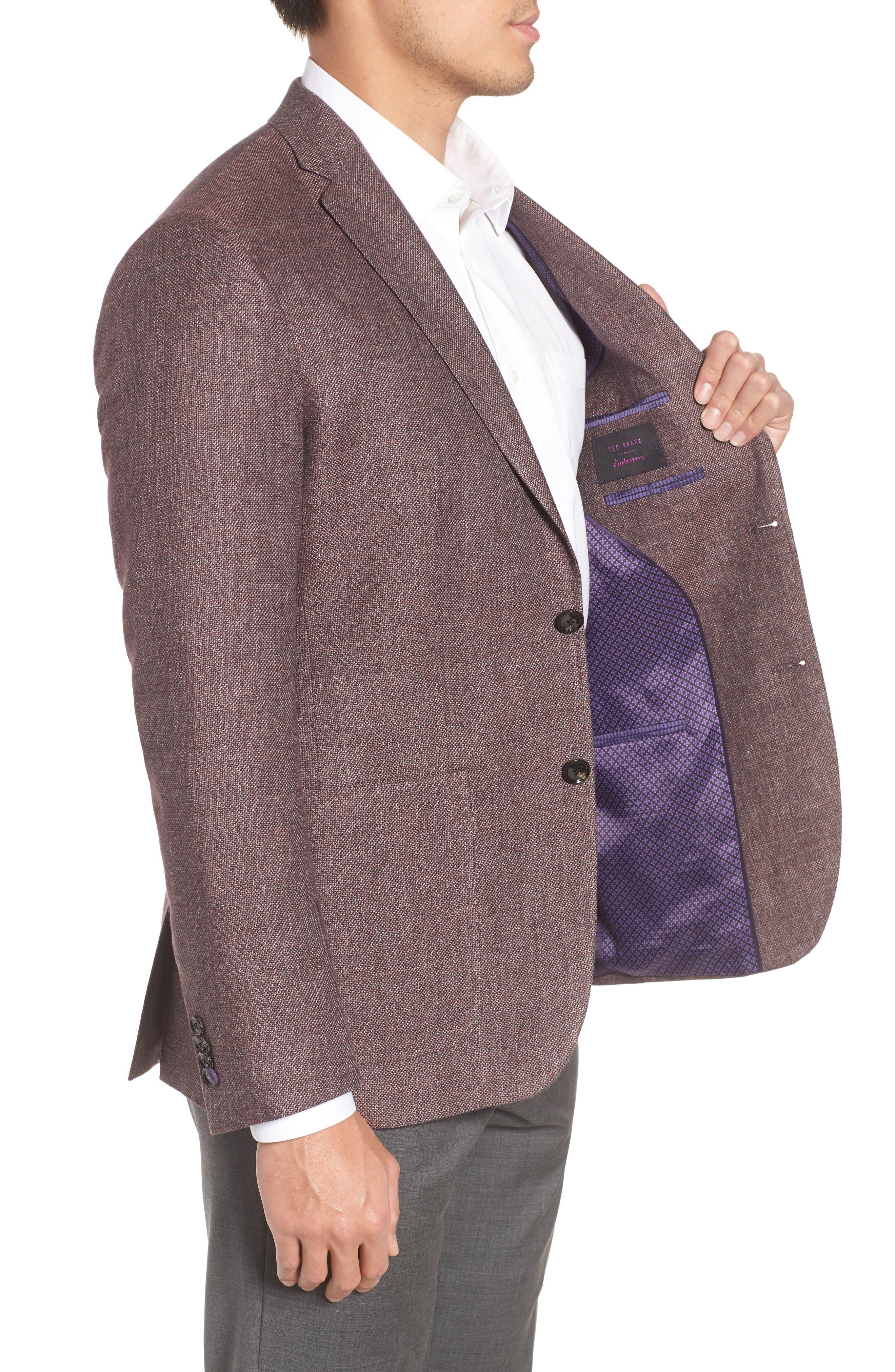 Kyle Trim Fit Linen & Wool Blazer,                             Alternate thumbnail 3, color,                             Light Brick