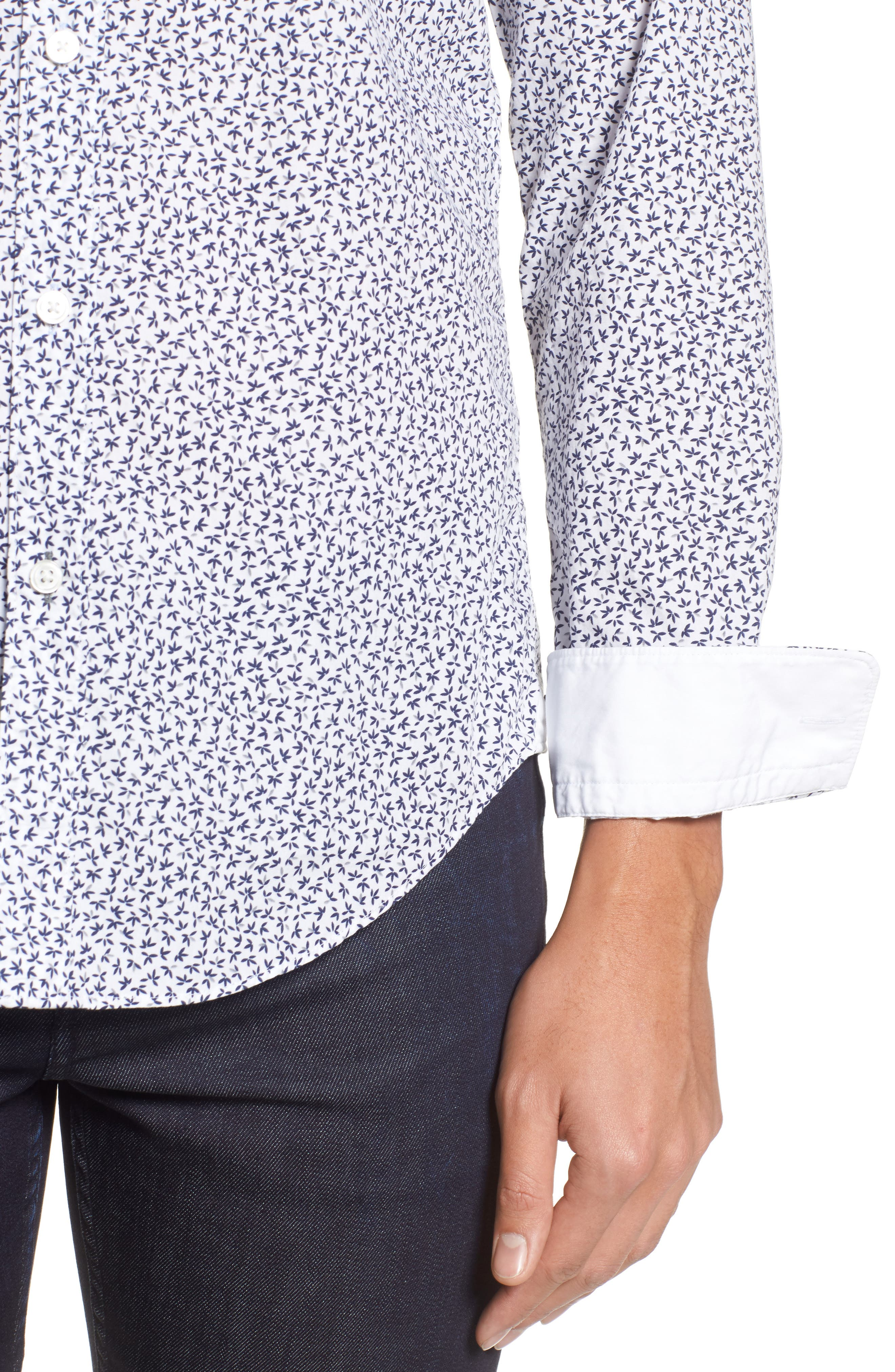 Ronni Trim Fit Floral Print Sport Shirt,                             Alternate thumbnail 4, color,                             Blue