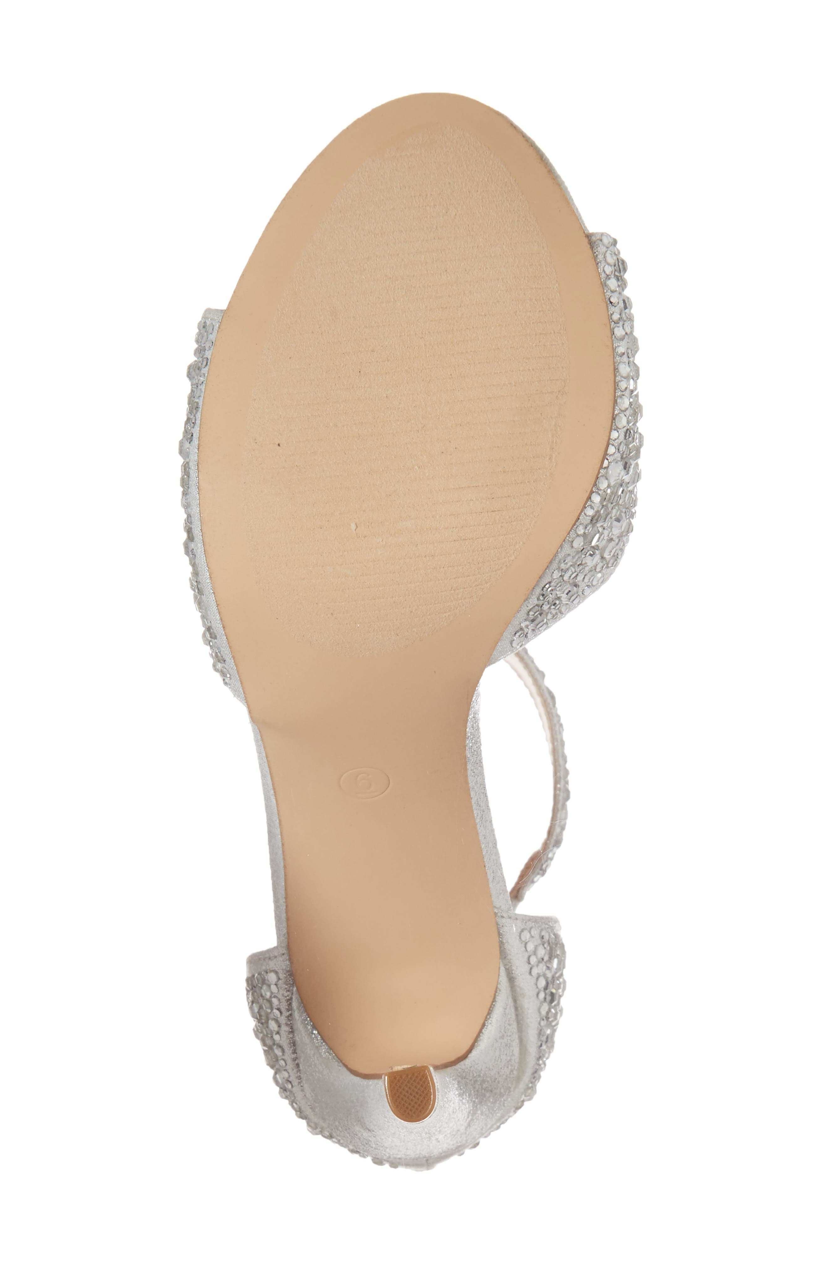 Ina Crystal Embellished Sandal,                             Alternate thumbnail 6, color,                             Silver