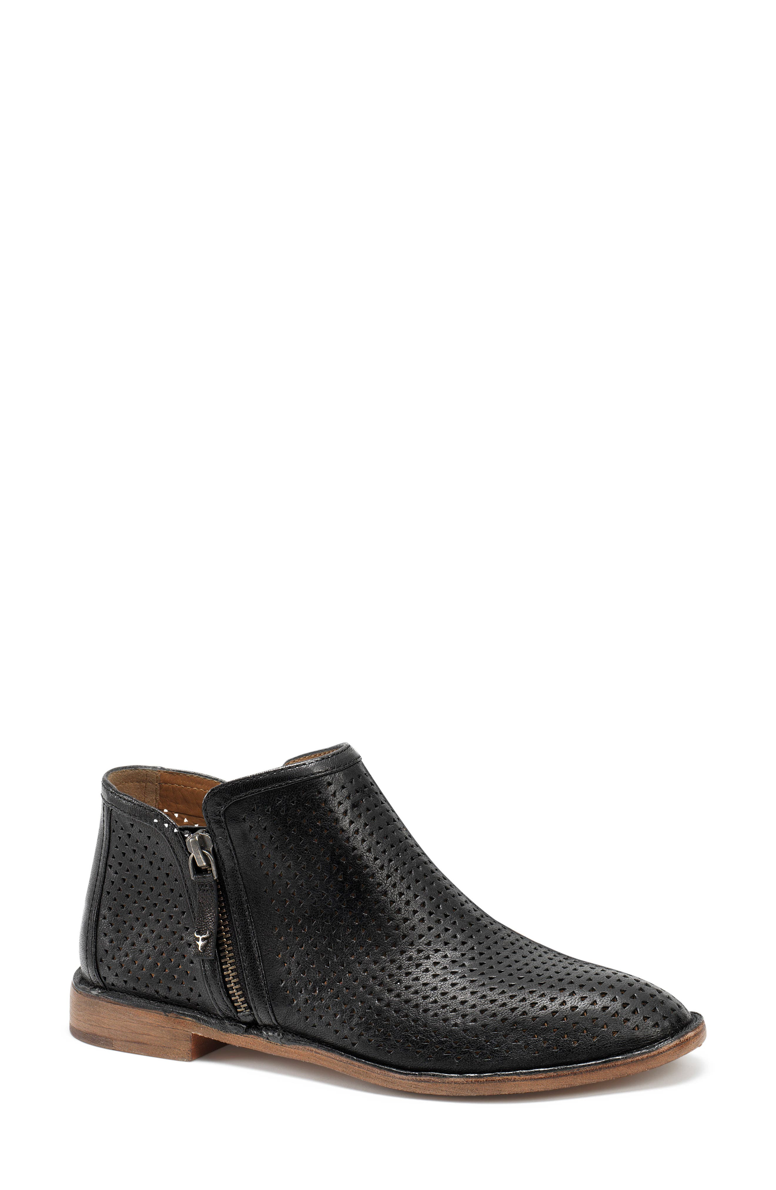 Addison Low Perforated Bootie,                             Main thumbnail 1, color,                             Black Leather