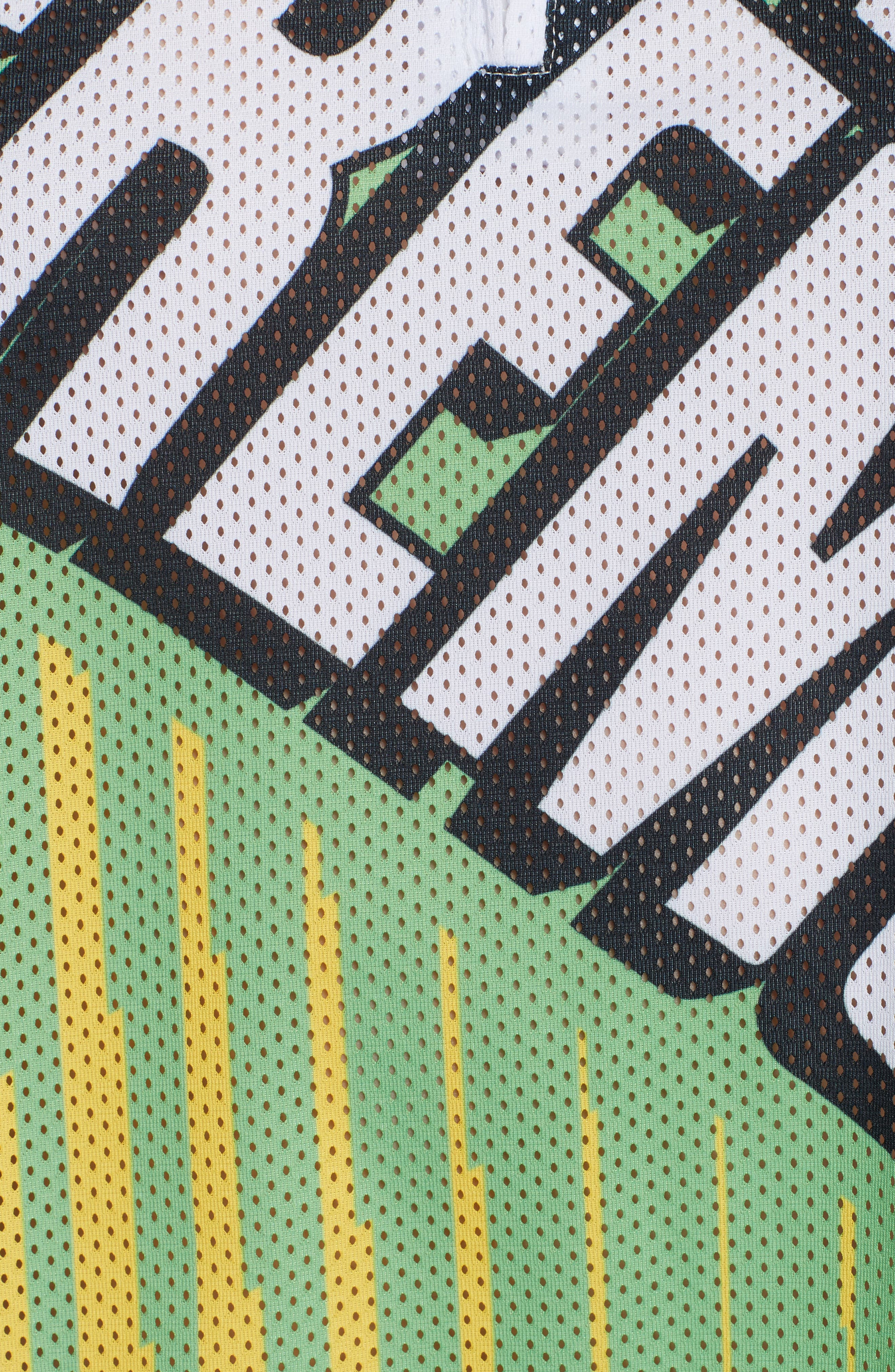 Mesh Moto Crop Top,                             Alternate thumbnail 5, color,                             Laser Green Multi