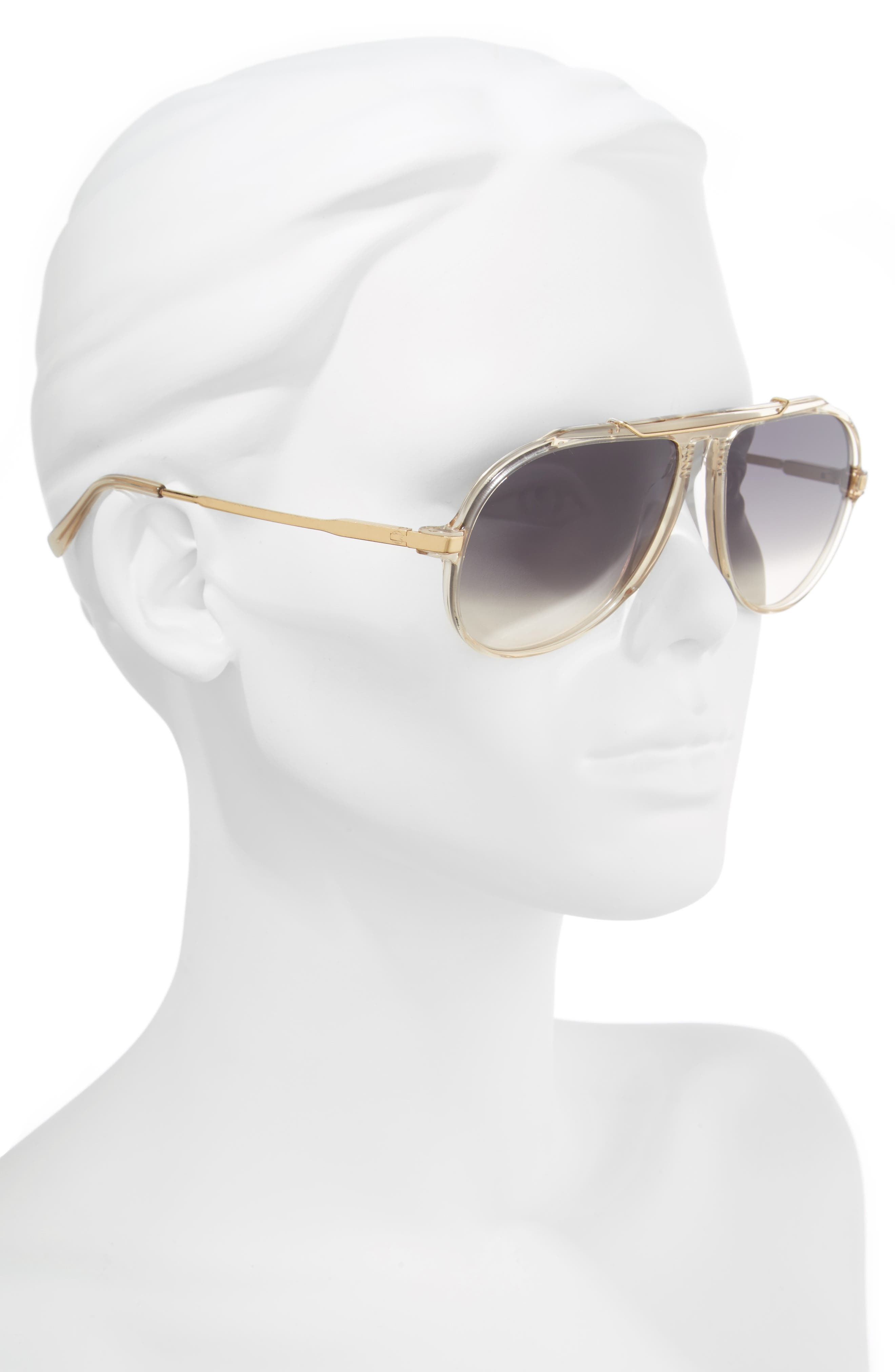 60mm Gradient Aviator Sunglasses,                             Alternate thumbnail 2, color,                             Champagne/ Gold/ Green