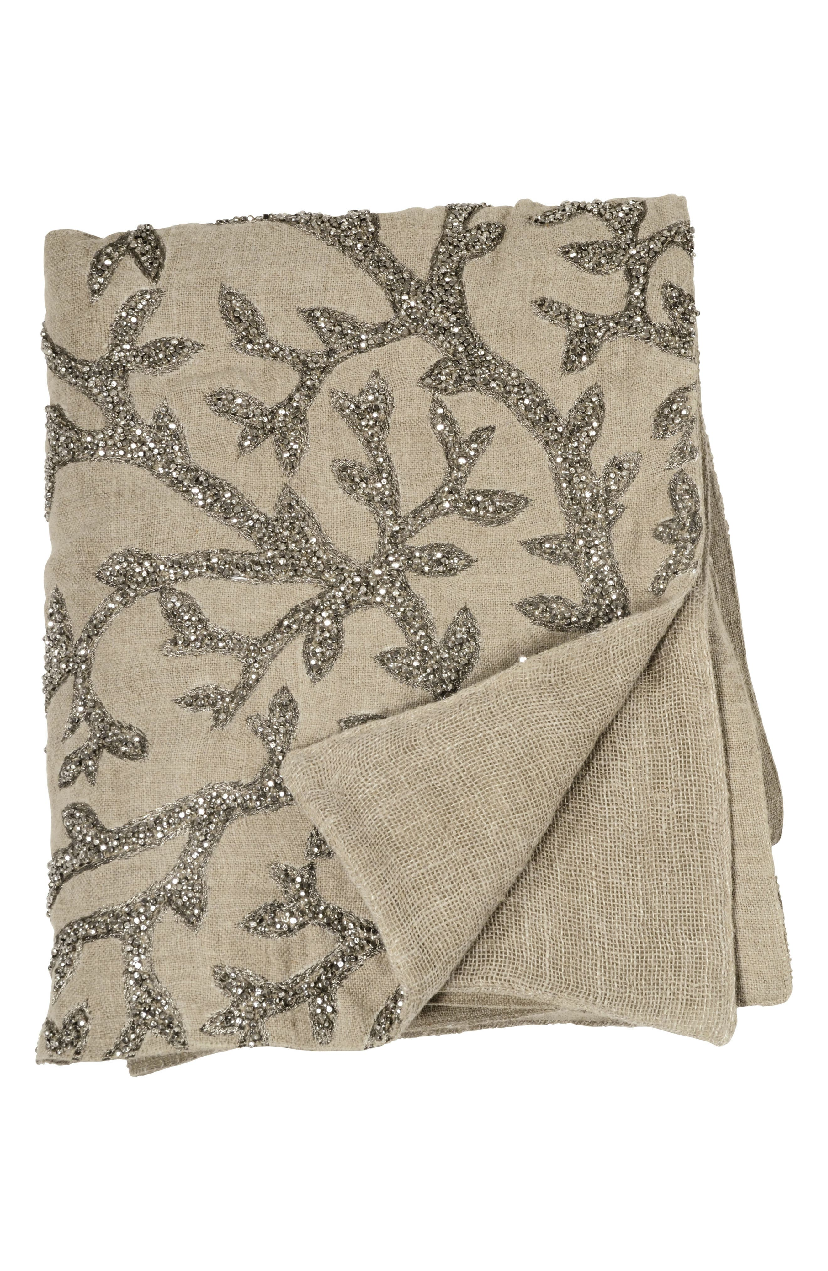 Tree Of Life Beaded Throw,                         Main,                         color, Linen