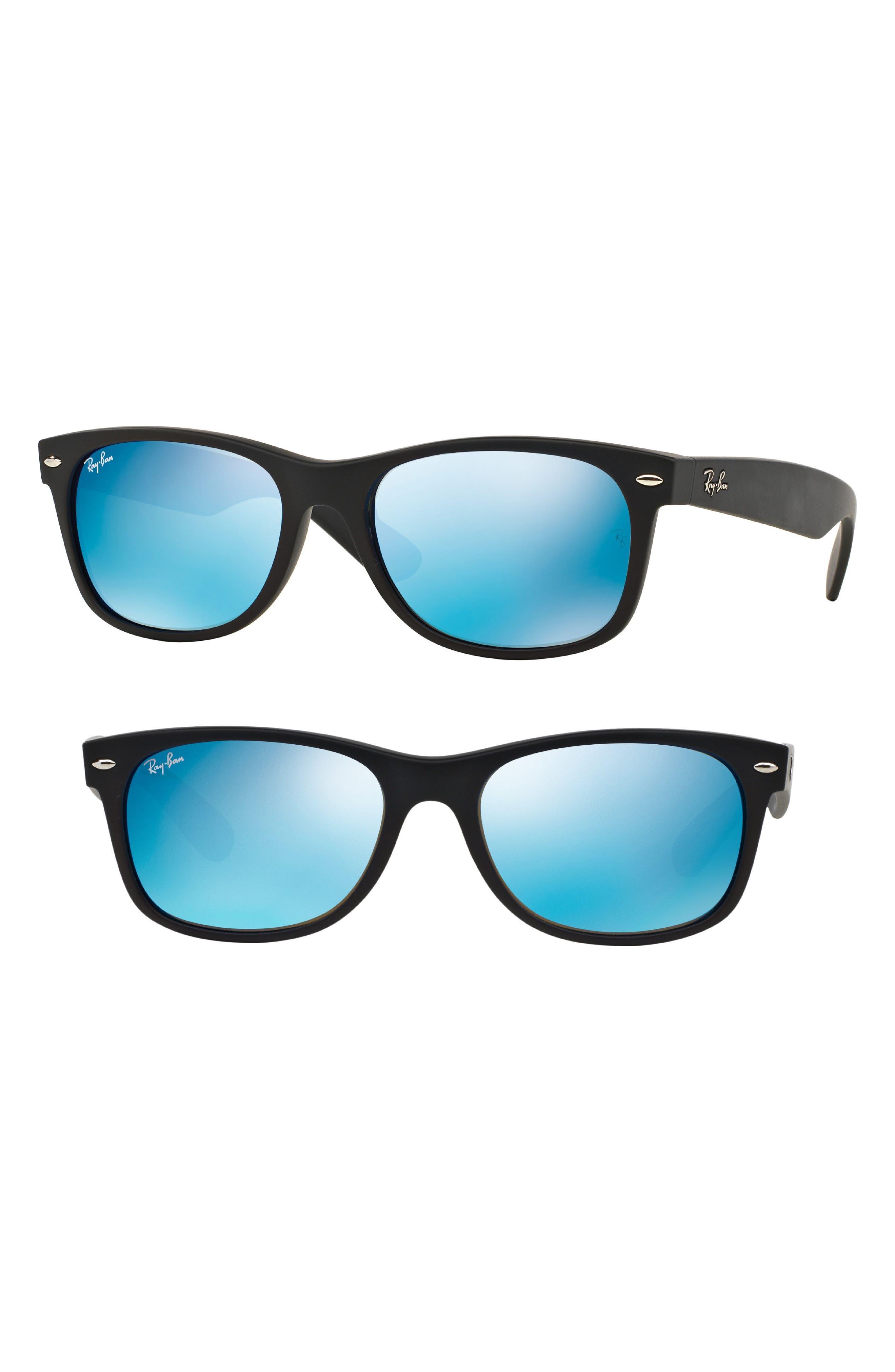 New Wayfarer Classic 52mm Sunglasses,                             Main thumbnail 1, color,                             Black/ Blue