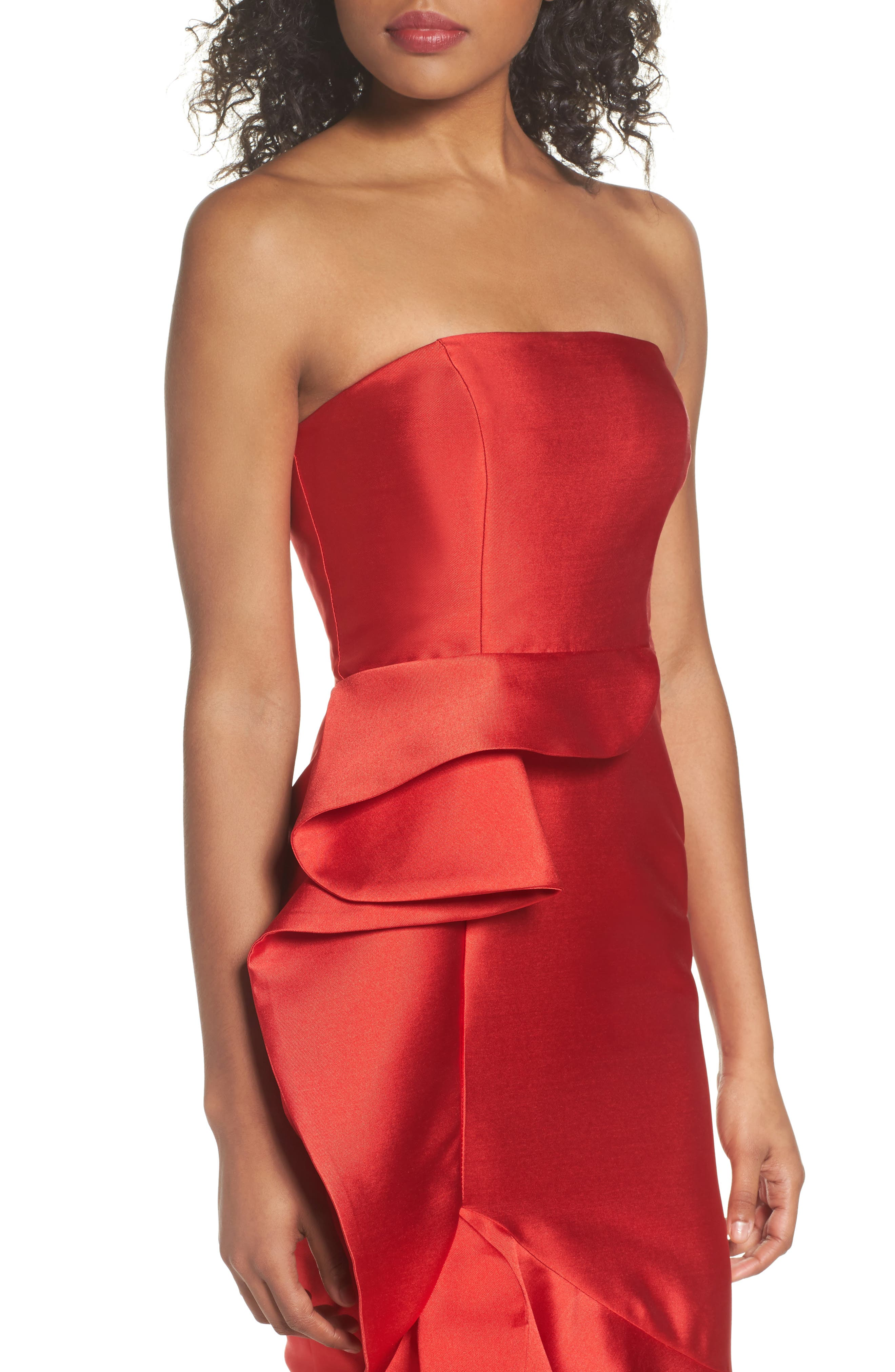Sellers High/Low Mermaid Gown,                             Alternate thumbnail 4, color,                             Red