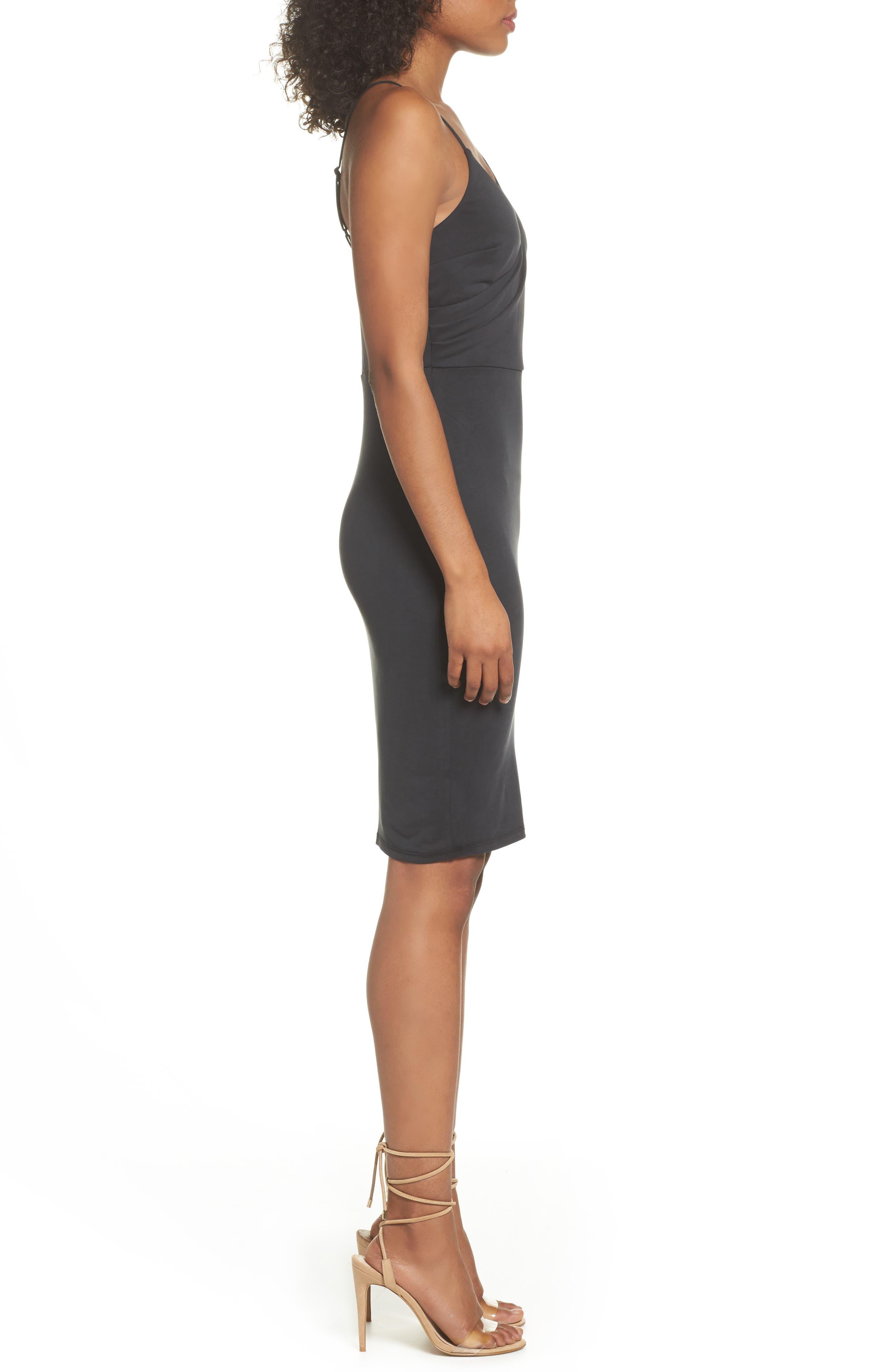 Gracie Cupro Body-Con Dress,                             Alternate thumbnail 3, color,                             Black