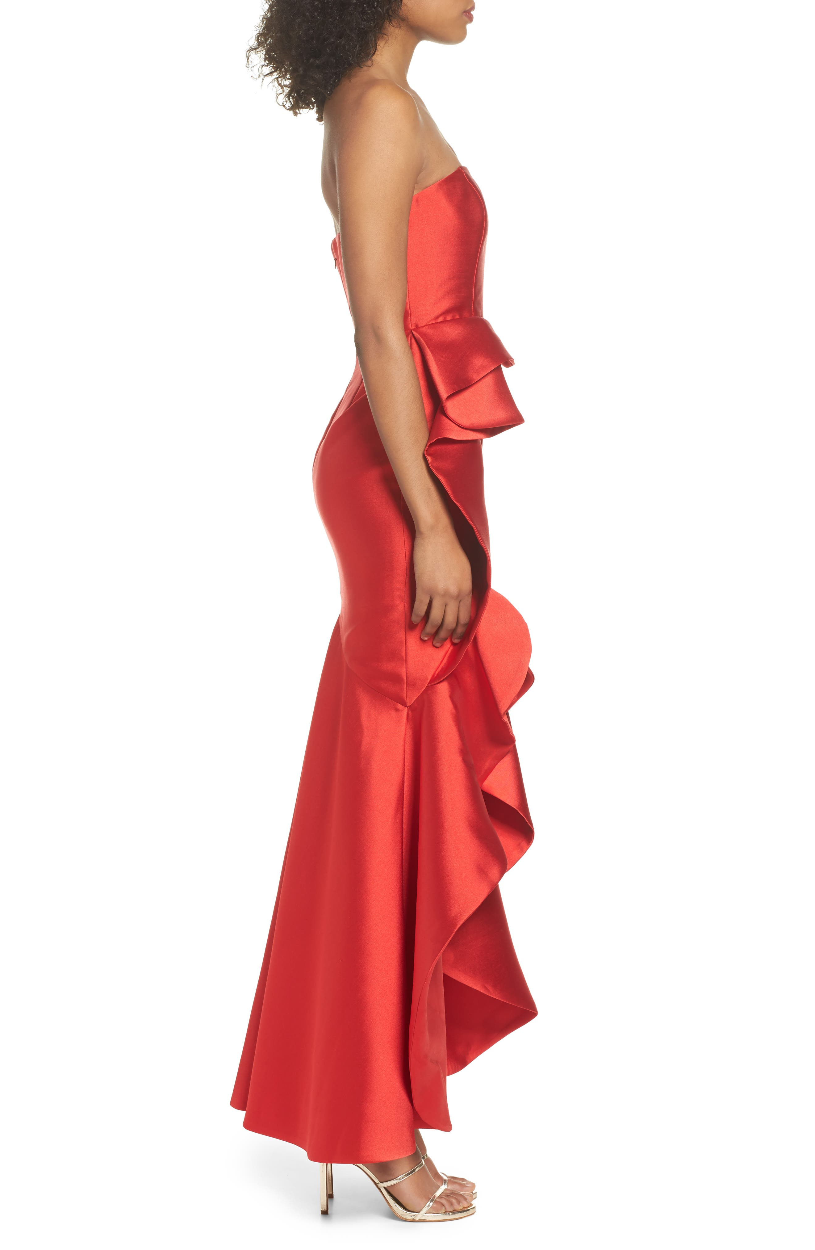 Sellers High/Low Mermaid Gown,                             Alternate thumbnail 3, color,                             Red