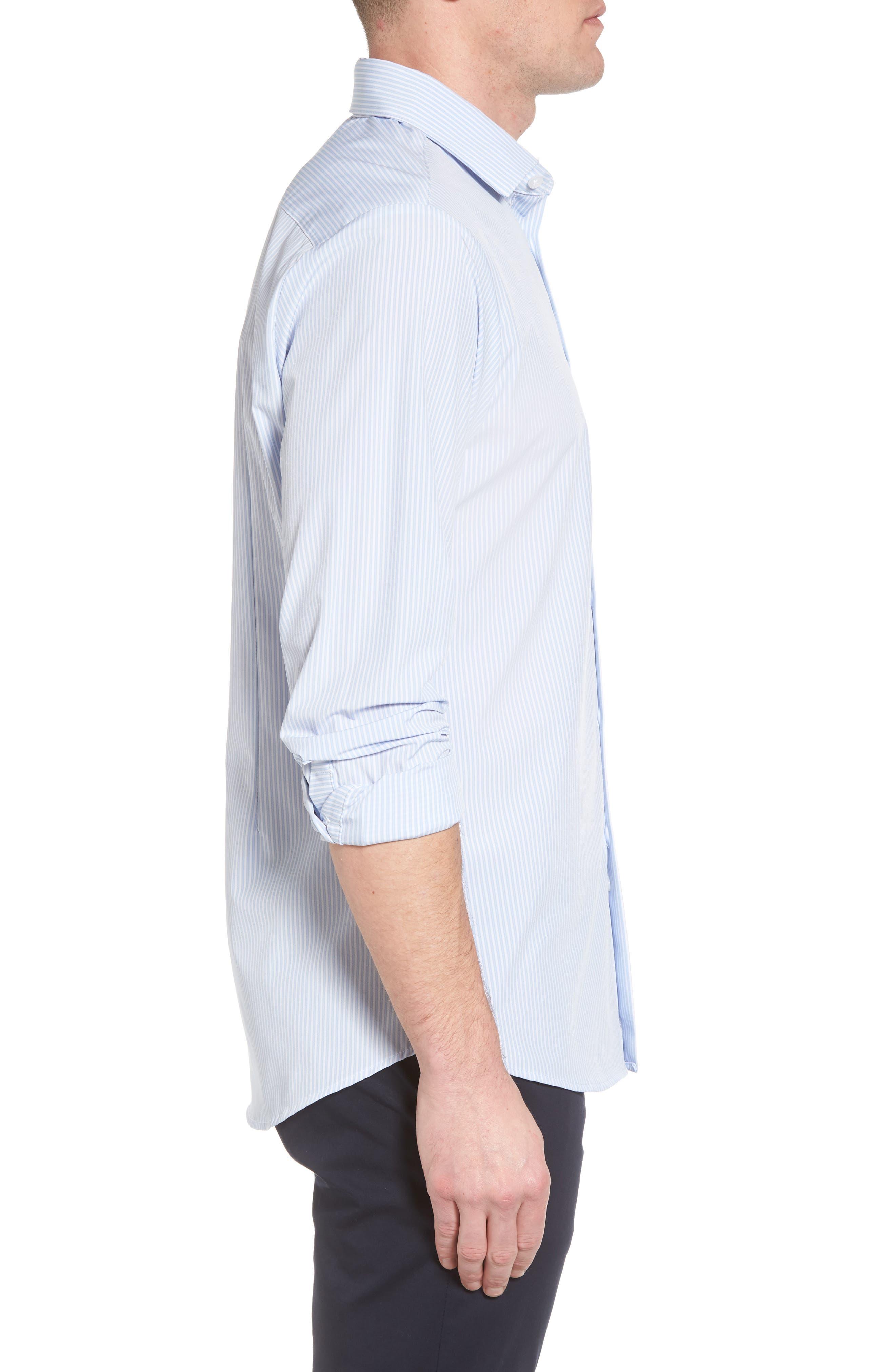 Caldwell Slim Fit Stripe Sport Shirt,                             Alternate thumbnail 3, color,                             Blue