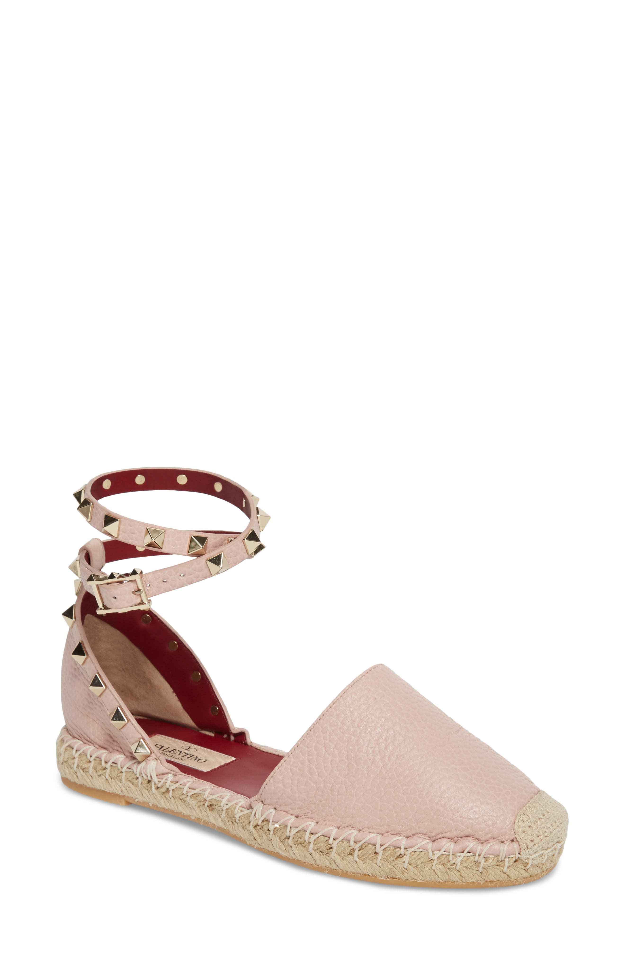 Rockstud Ankle Strap Espadrille,                             Main thumbnail 1, color,                             Water Rose
