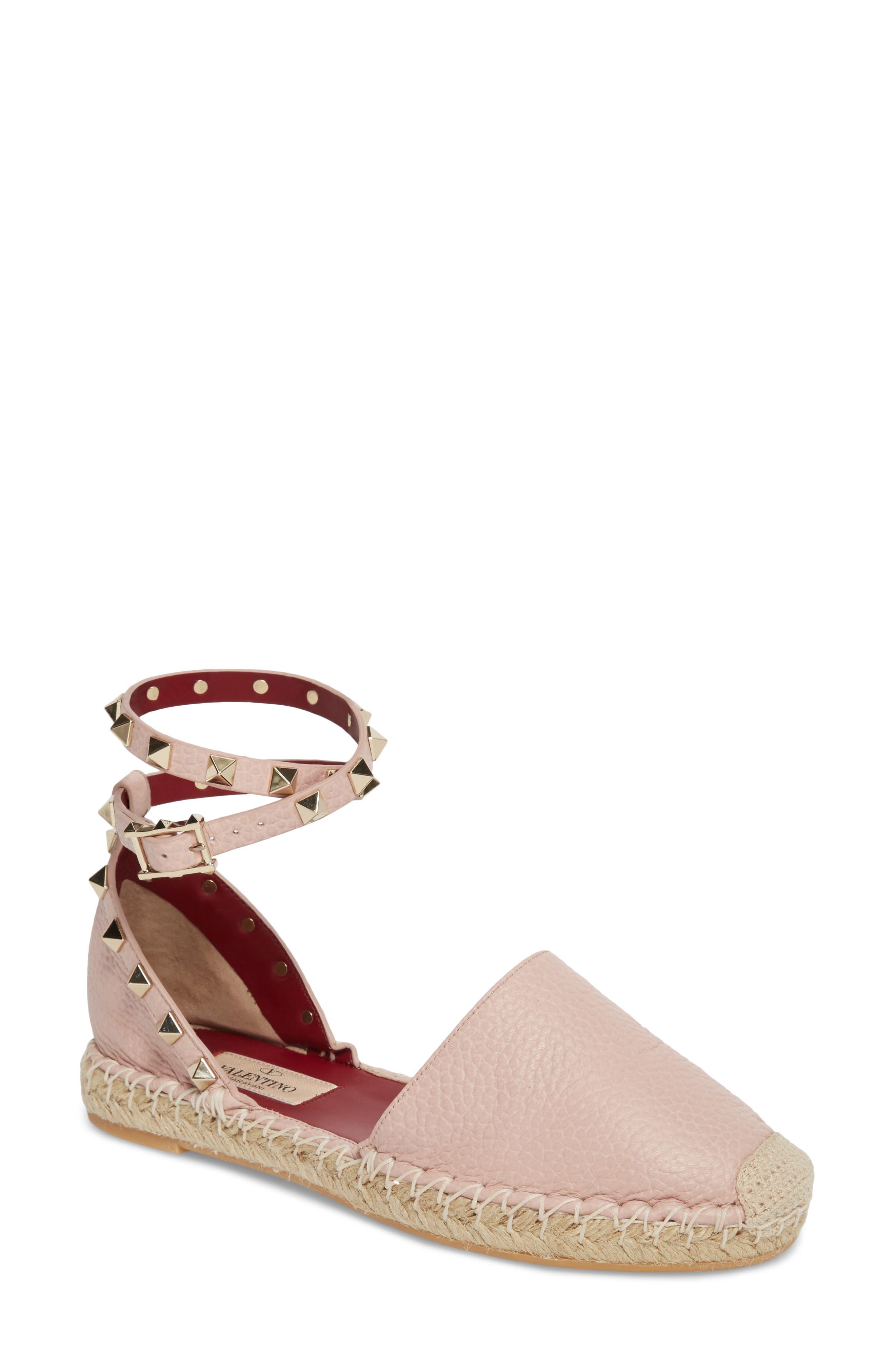 Rockstud Ankle Strap Espadrille,                         Main,                         color, Water Rose
