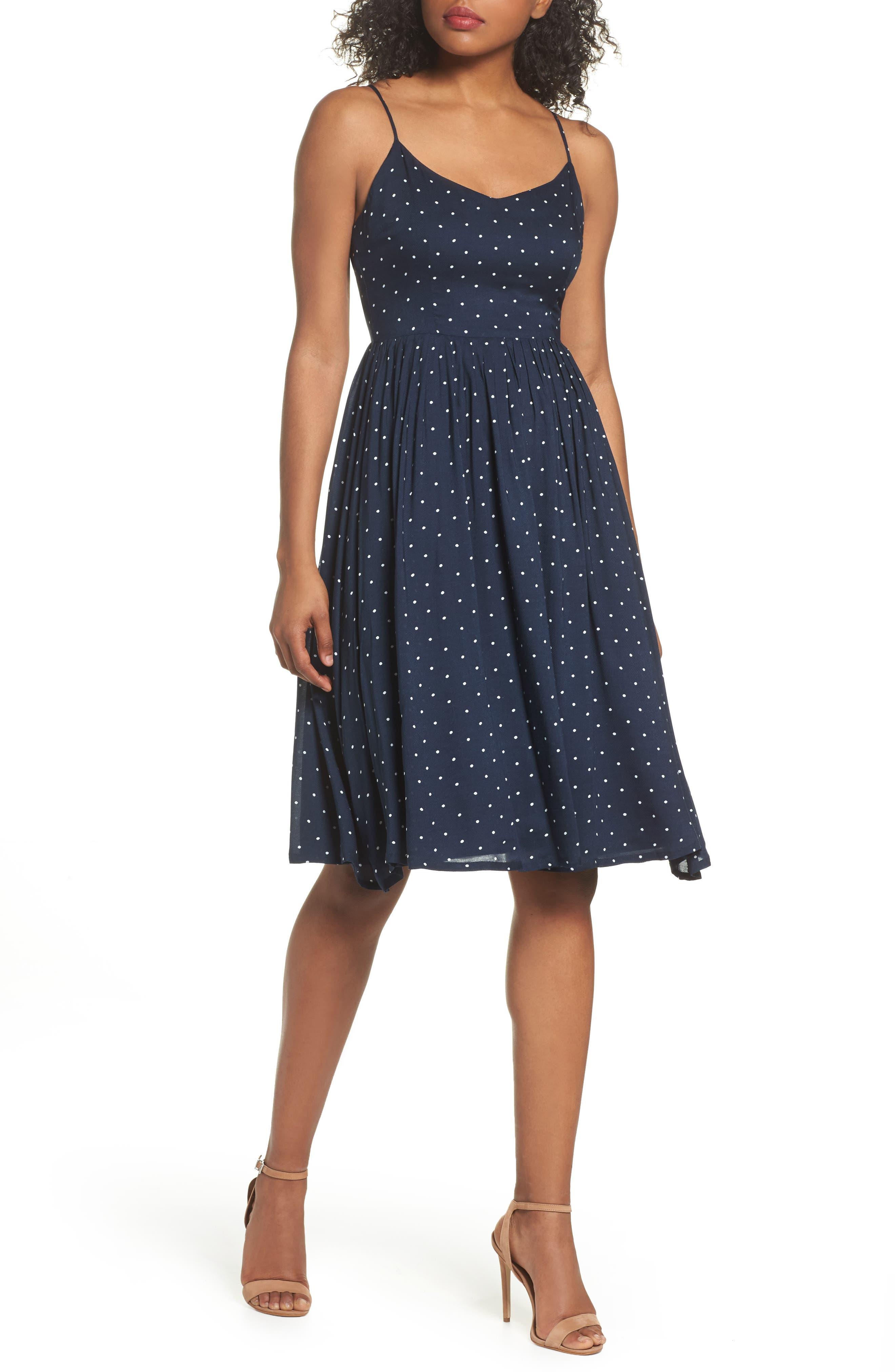 Sloane Polka Dot Dress,                             Main thumbnail 1, color,                             Navy