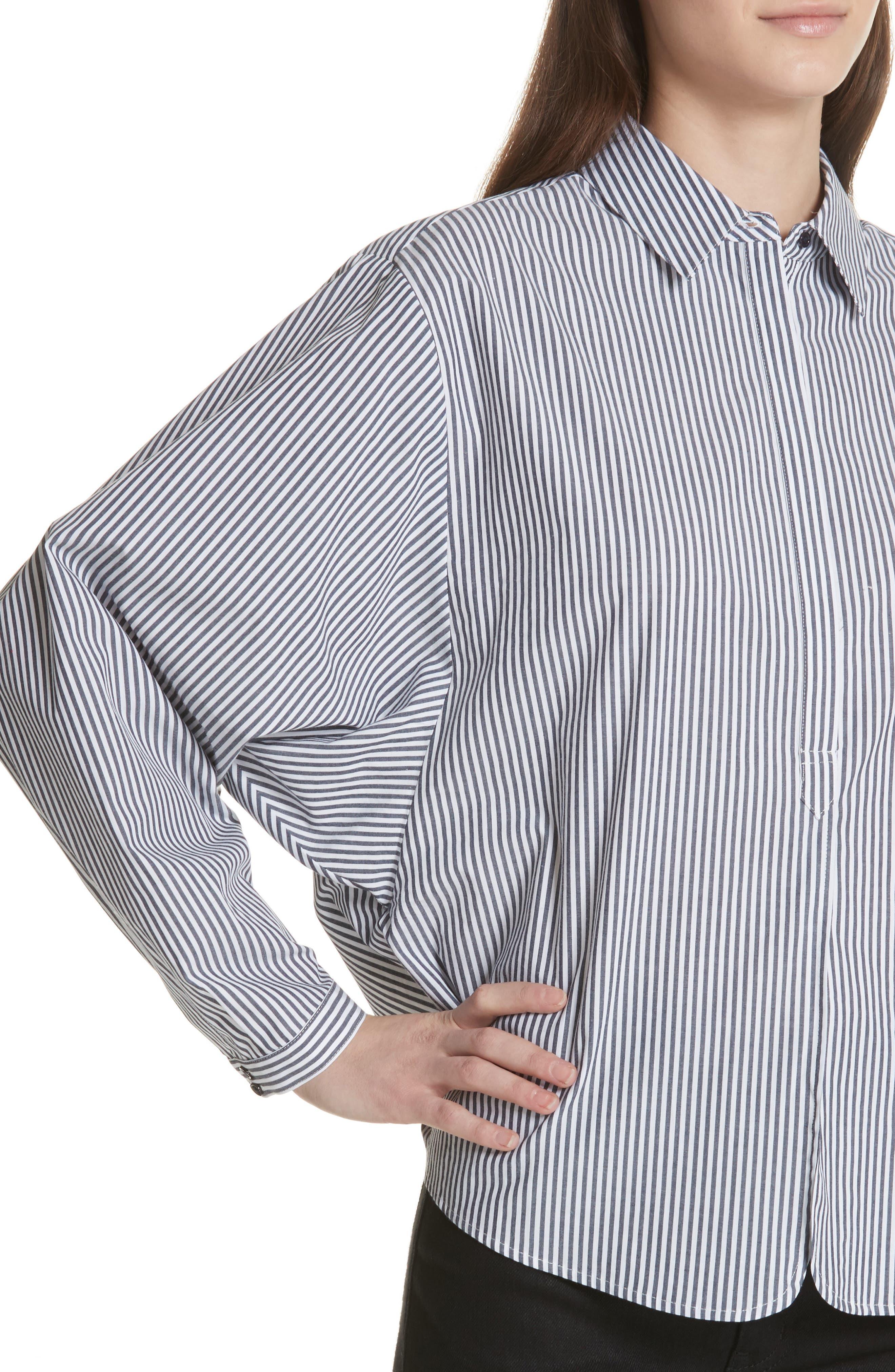 Anjanique Spread Collar Top,                             Alternate thumbnail 4, color,                             Dark Navy