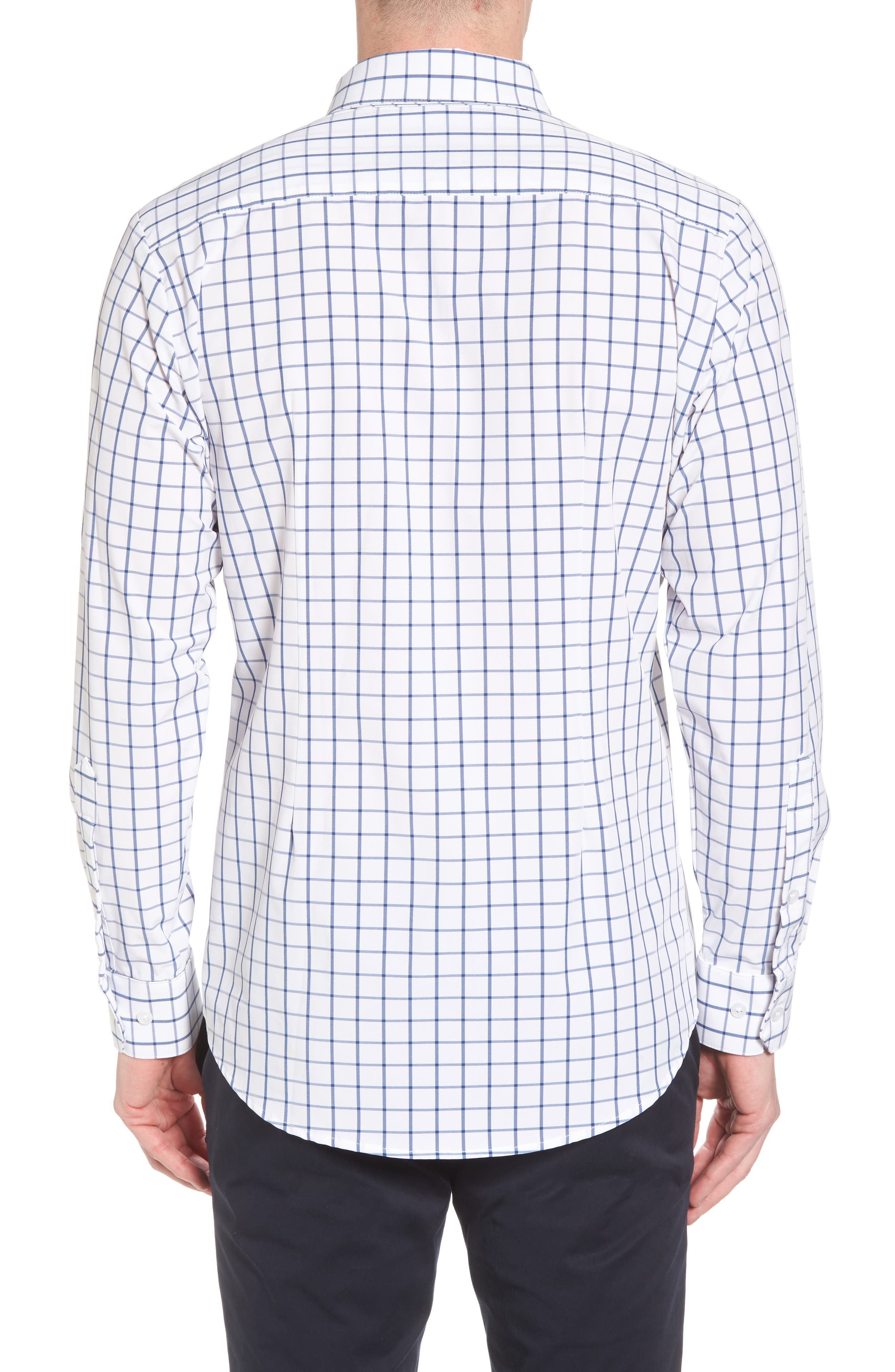 Bowie Windowpane Performance Sport Shirt,                             Alternate thumbnail 3, color,                             Navy