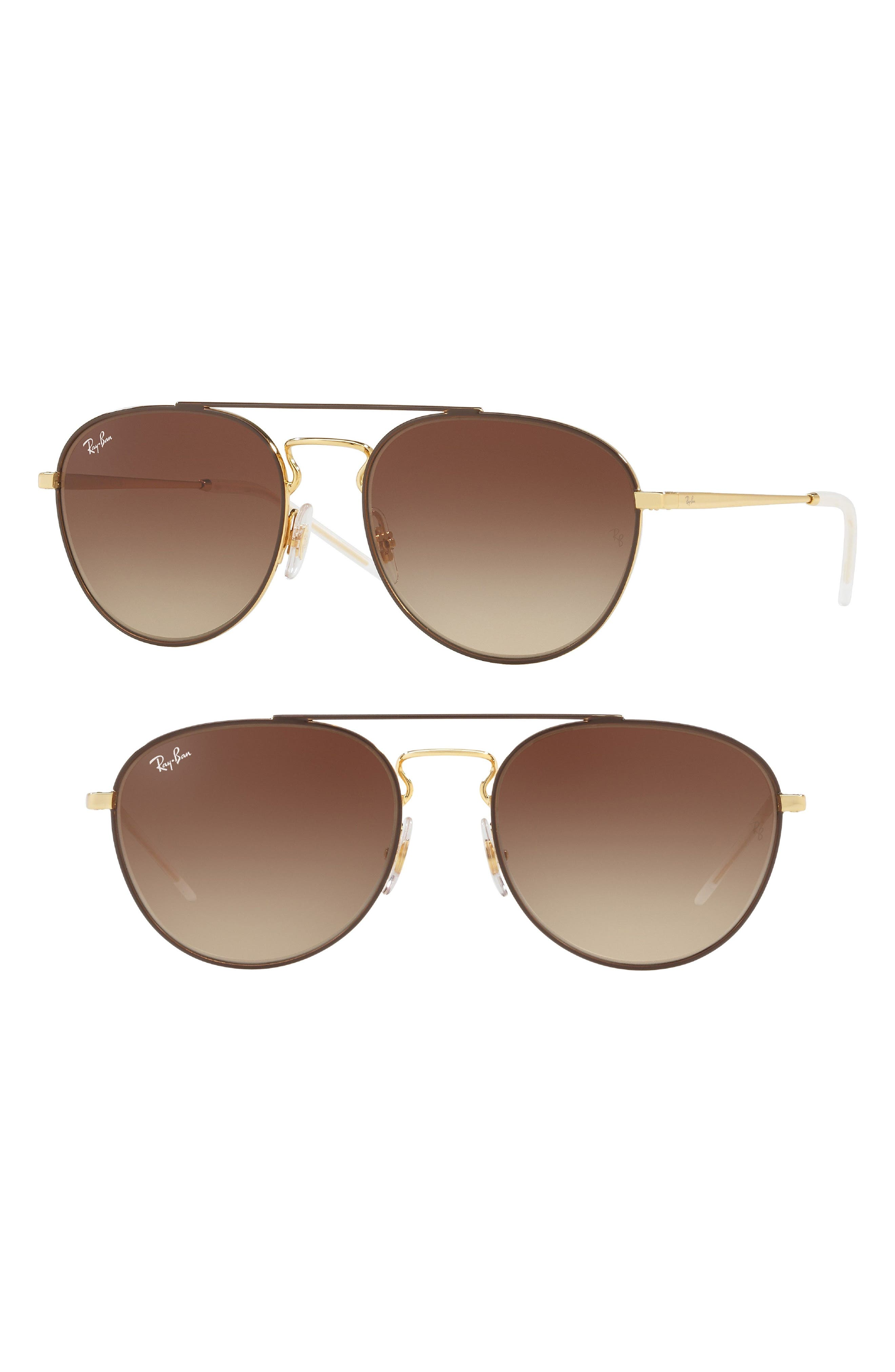 55mm Gradient Lens Round Aviator Sunglasses,                             Main thumbnail 1, color,                             Gold Brown