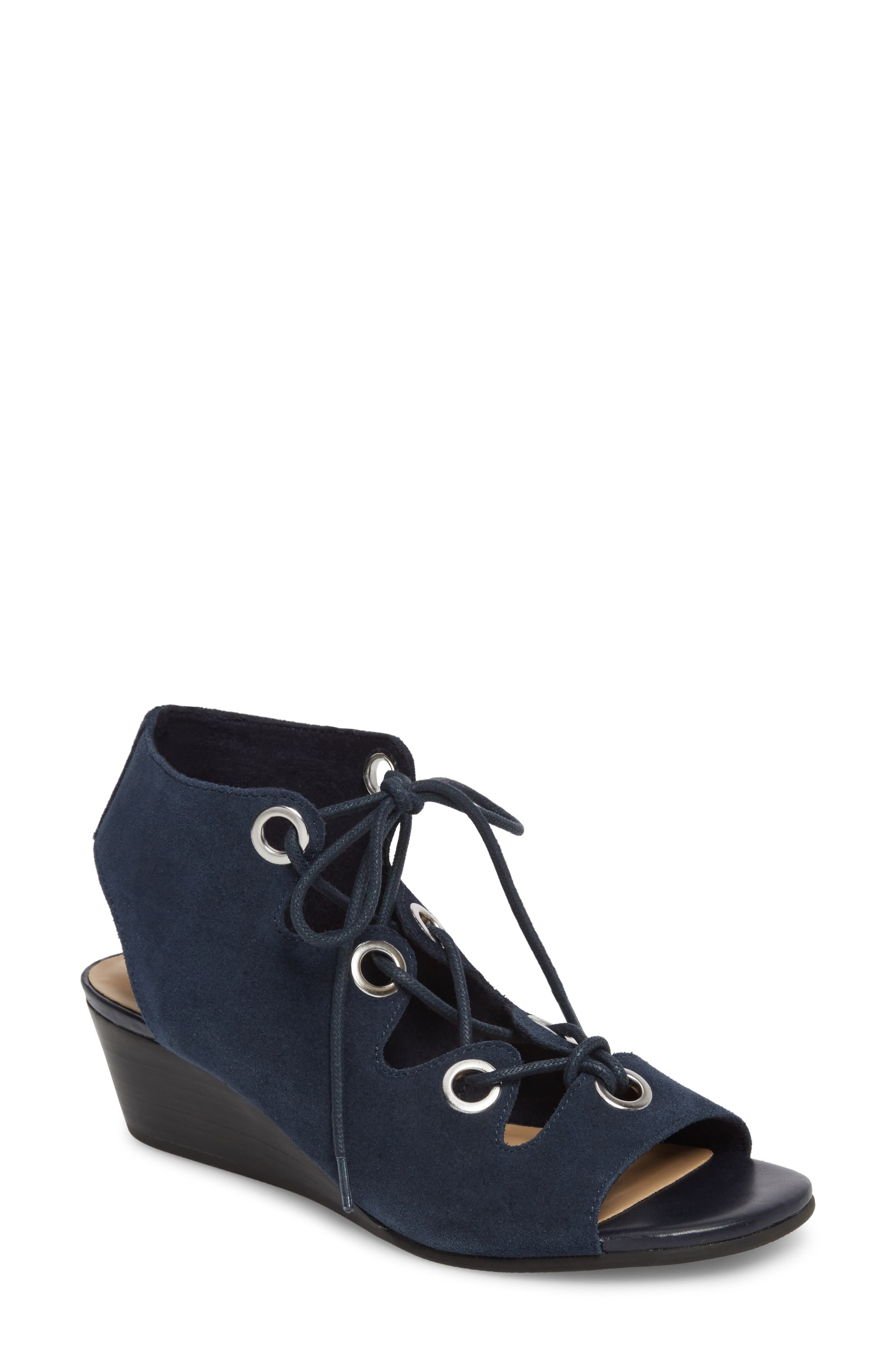 Ingrid Lace-Up Sandal,                             Main thumbnail 1, color,                             Navy Suede