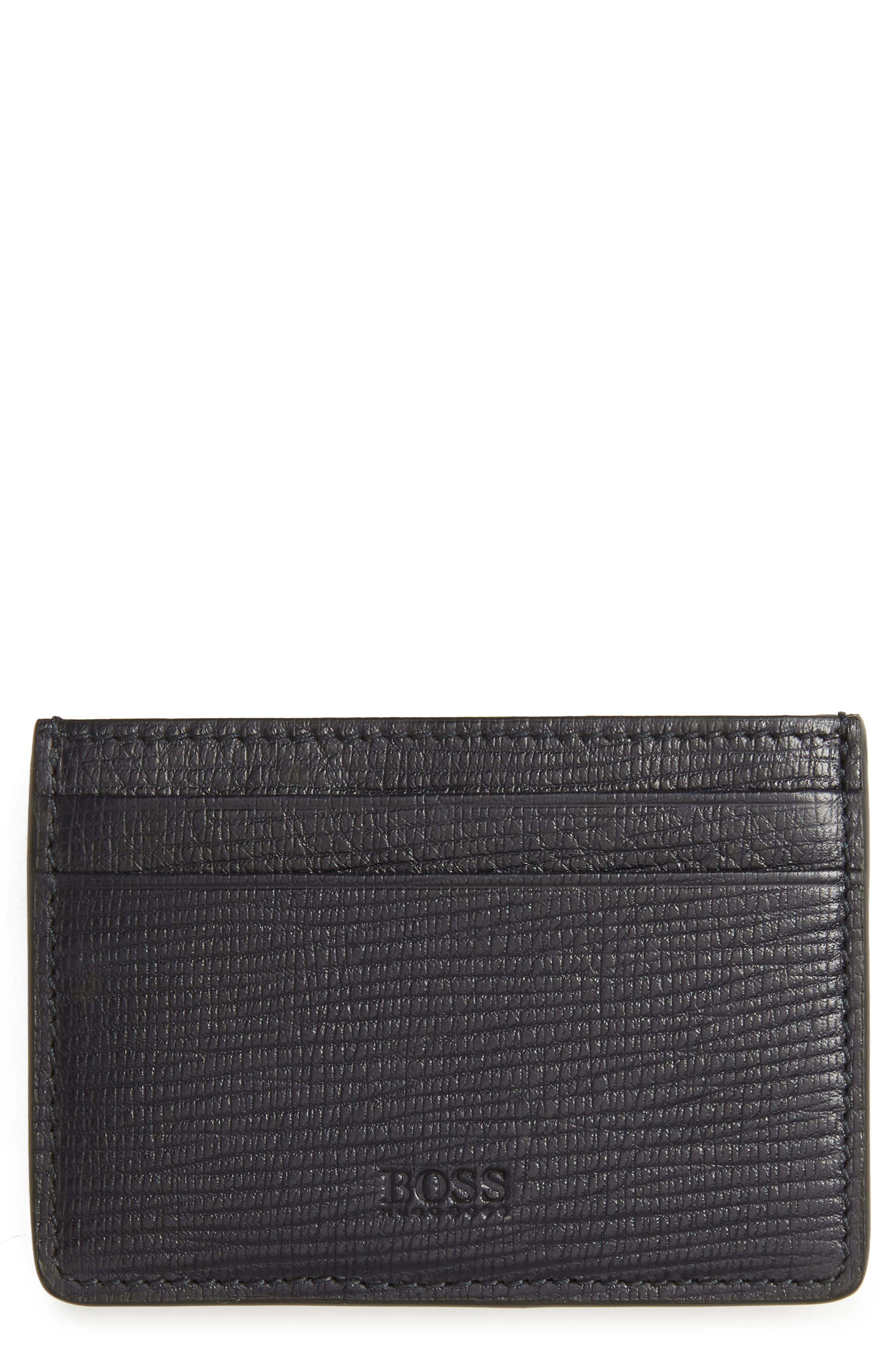 Timeless Leather Money Clip Card Case,                         Main,                         color, Navy