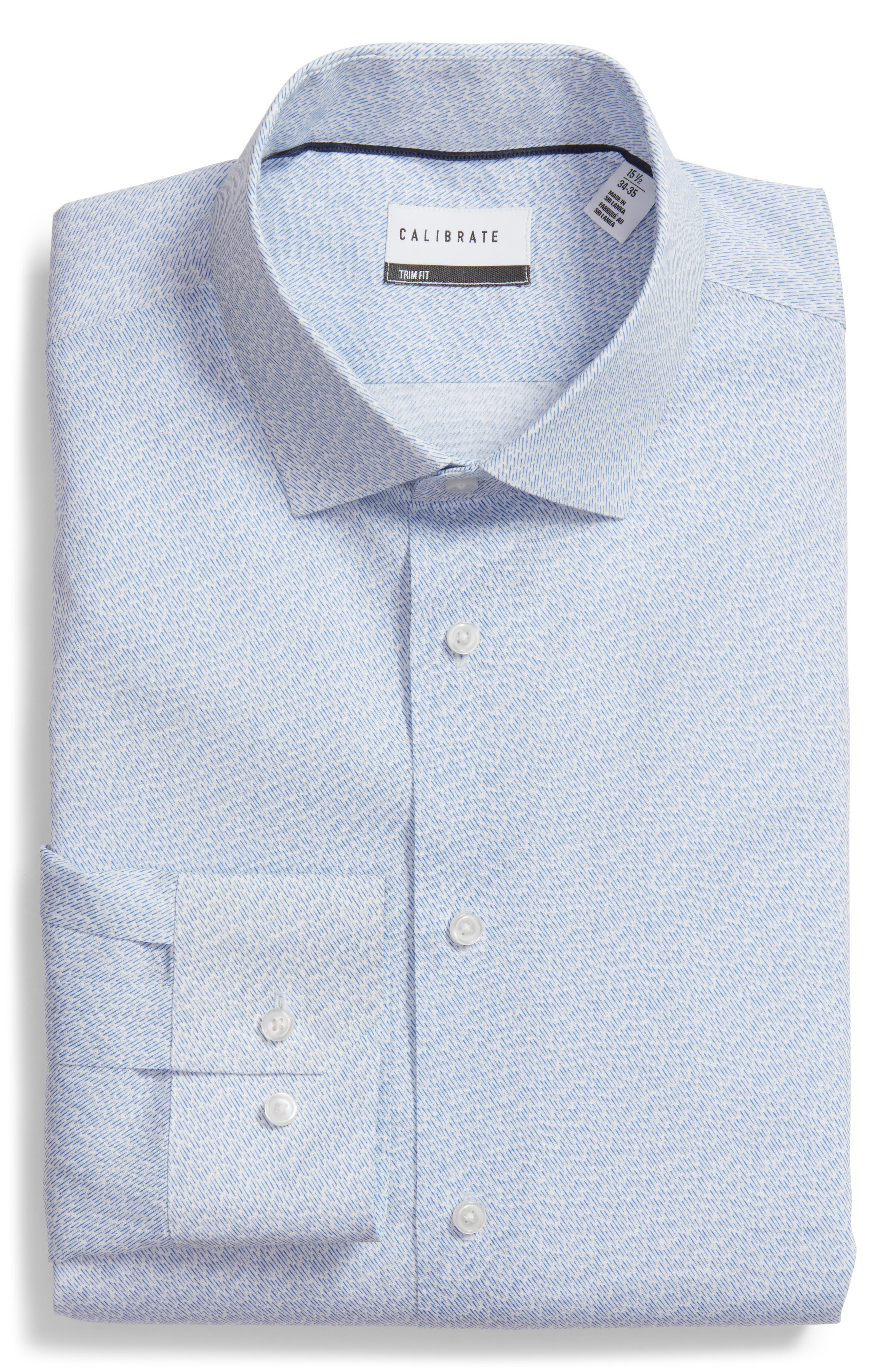 Trim Fit Print Dress Shirt,                             Main thumbnail 1, color,                             Blue Lake