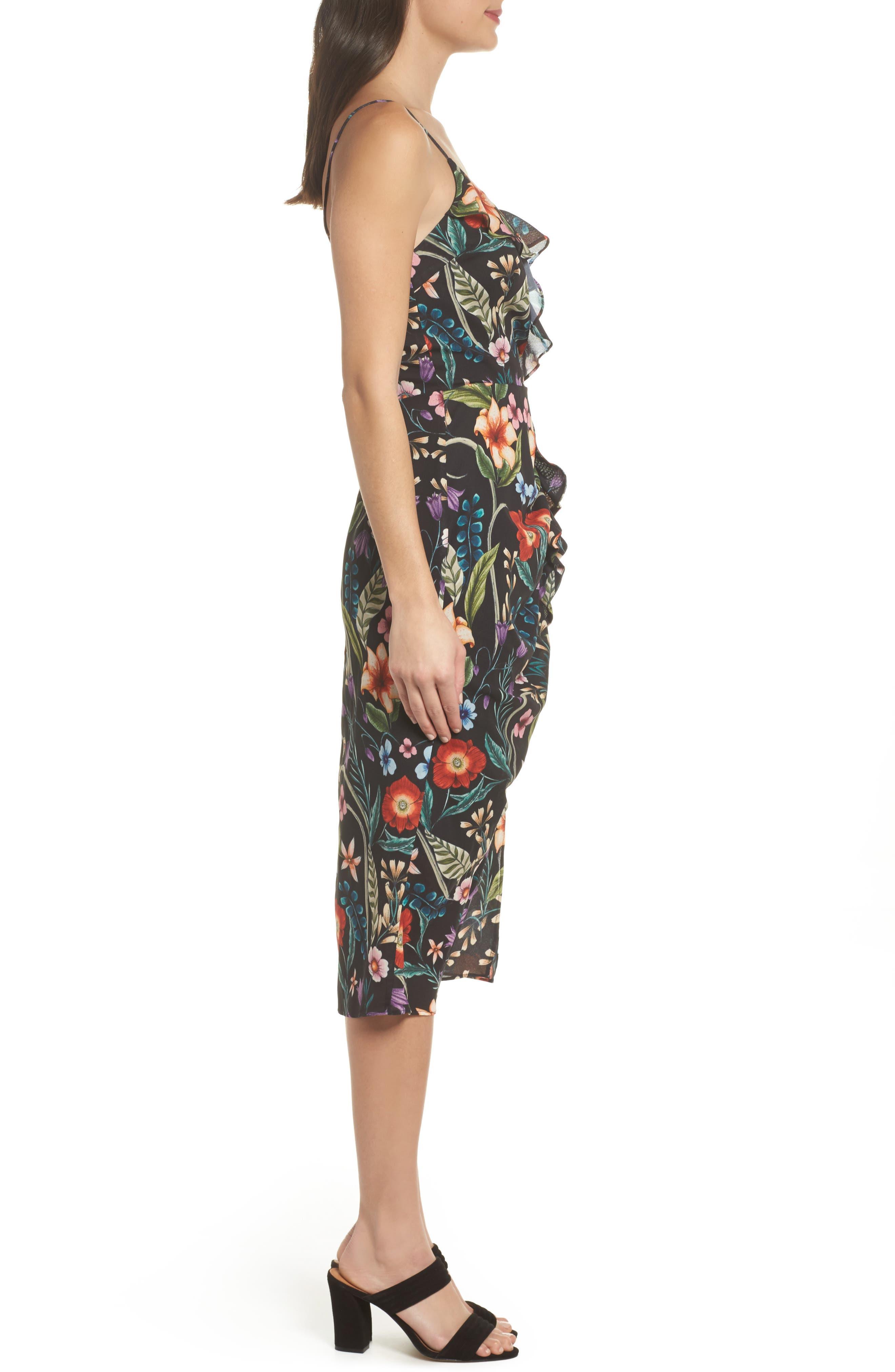 Gardenia Ruffle Dress,                             Alternate thumbnail 3, color,                             Print Dark
