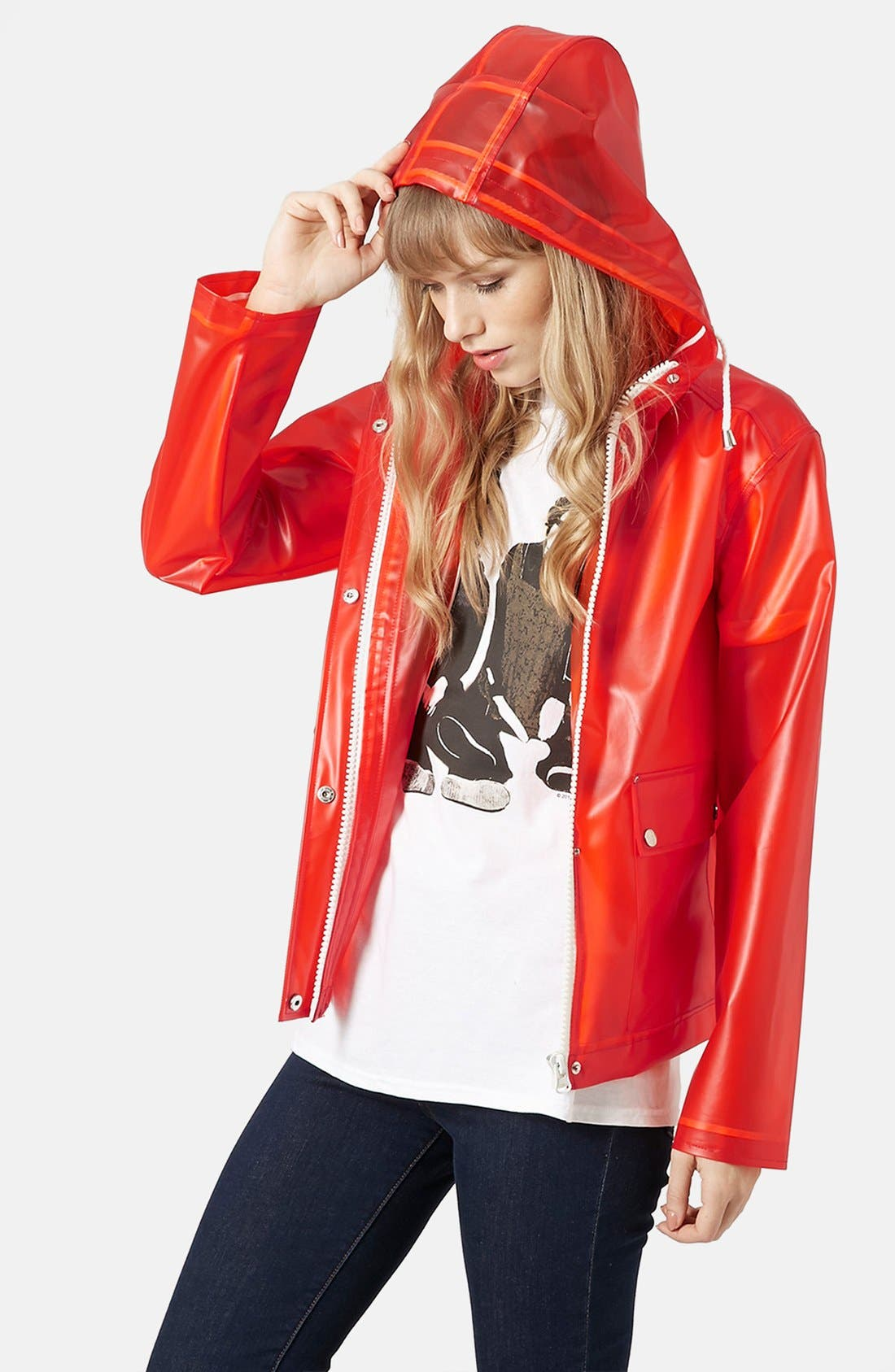 Alternate Image 1 Selected - Topshop 'Bongo' Hooded Plastic Raincoat (Brit Pop-In)