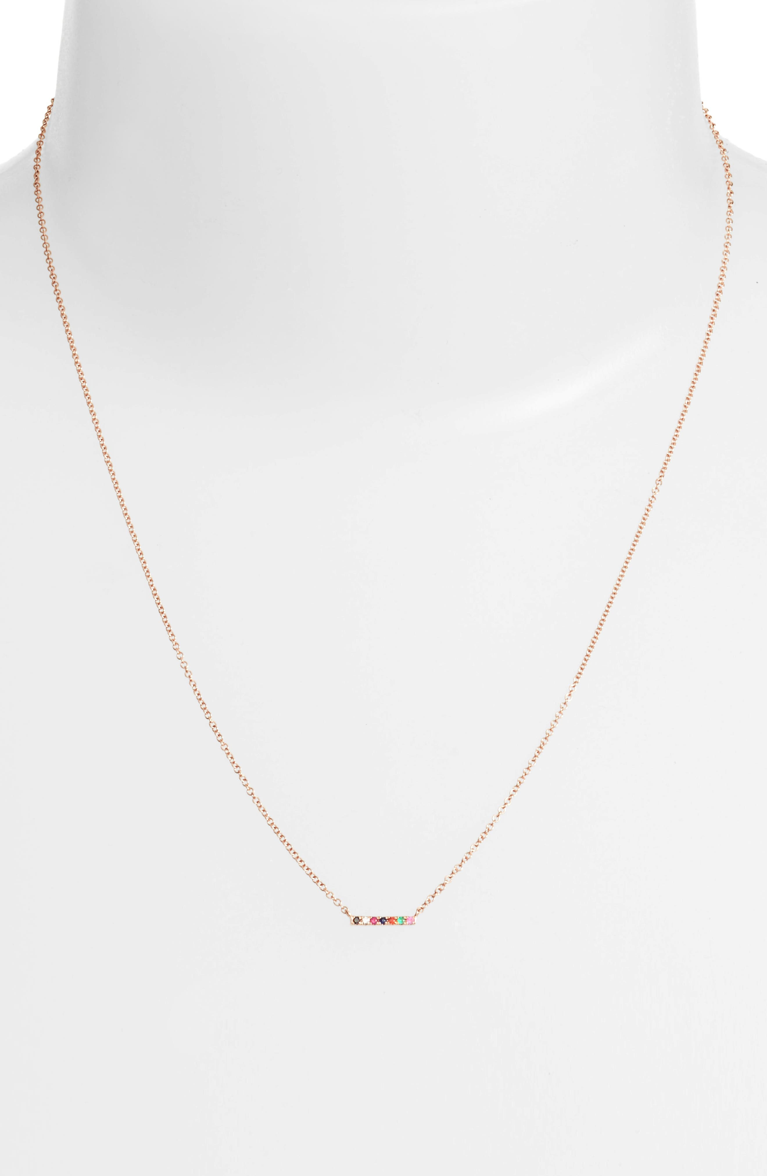 Mini Bar Rainbow Necklace,                             Alternate thumbnail 2, color,                             Rose Gold