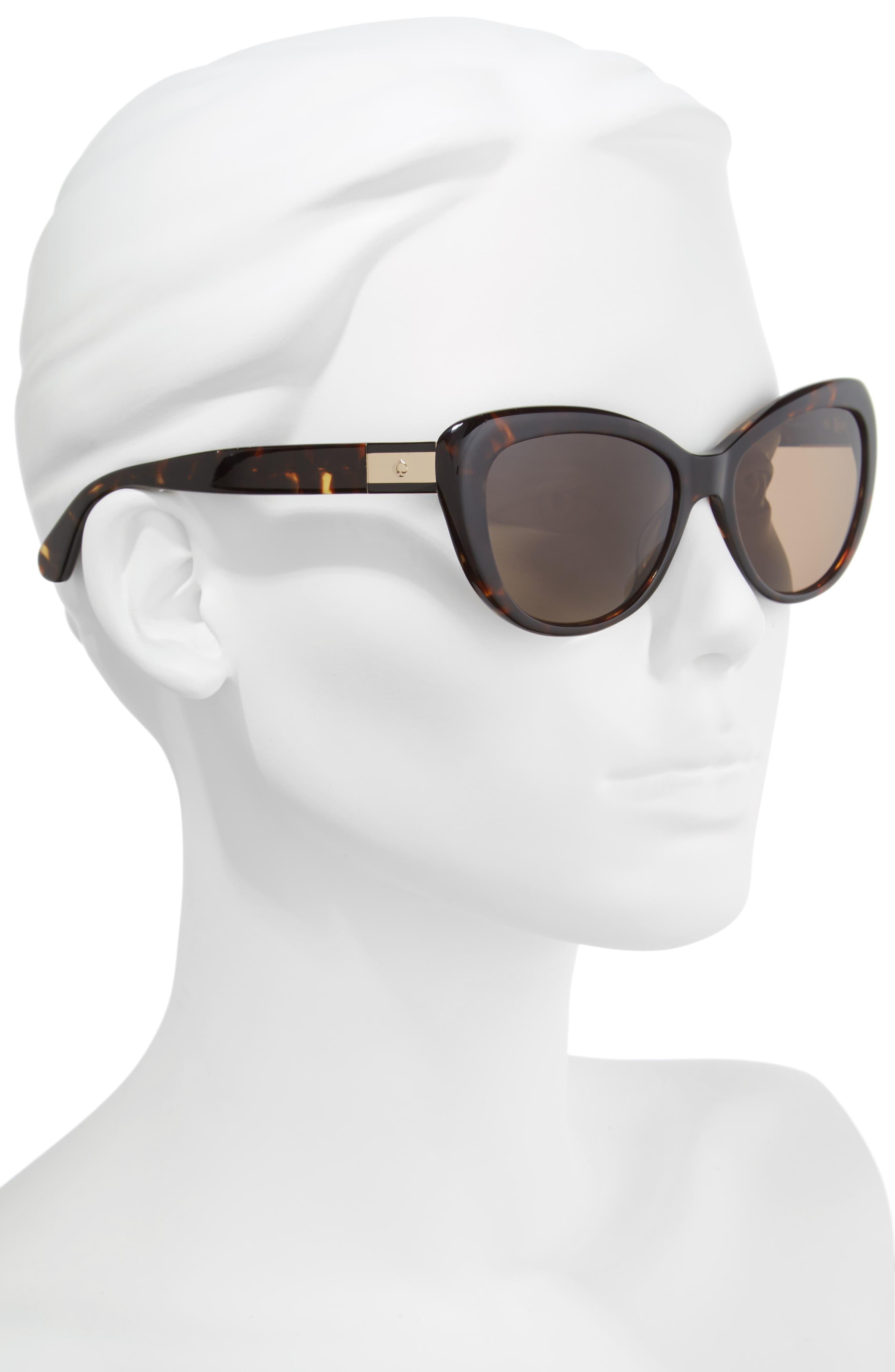 emmalynn 54mm polarized cat eye sunglasses,                             Alternate thumbnail 2, color,                             Dark Havana